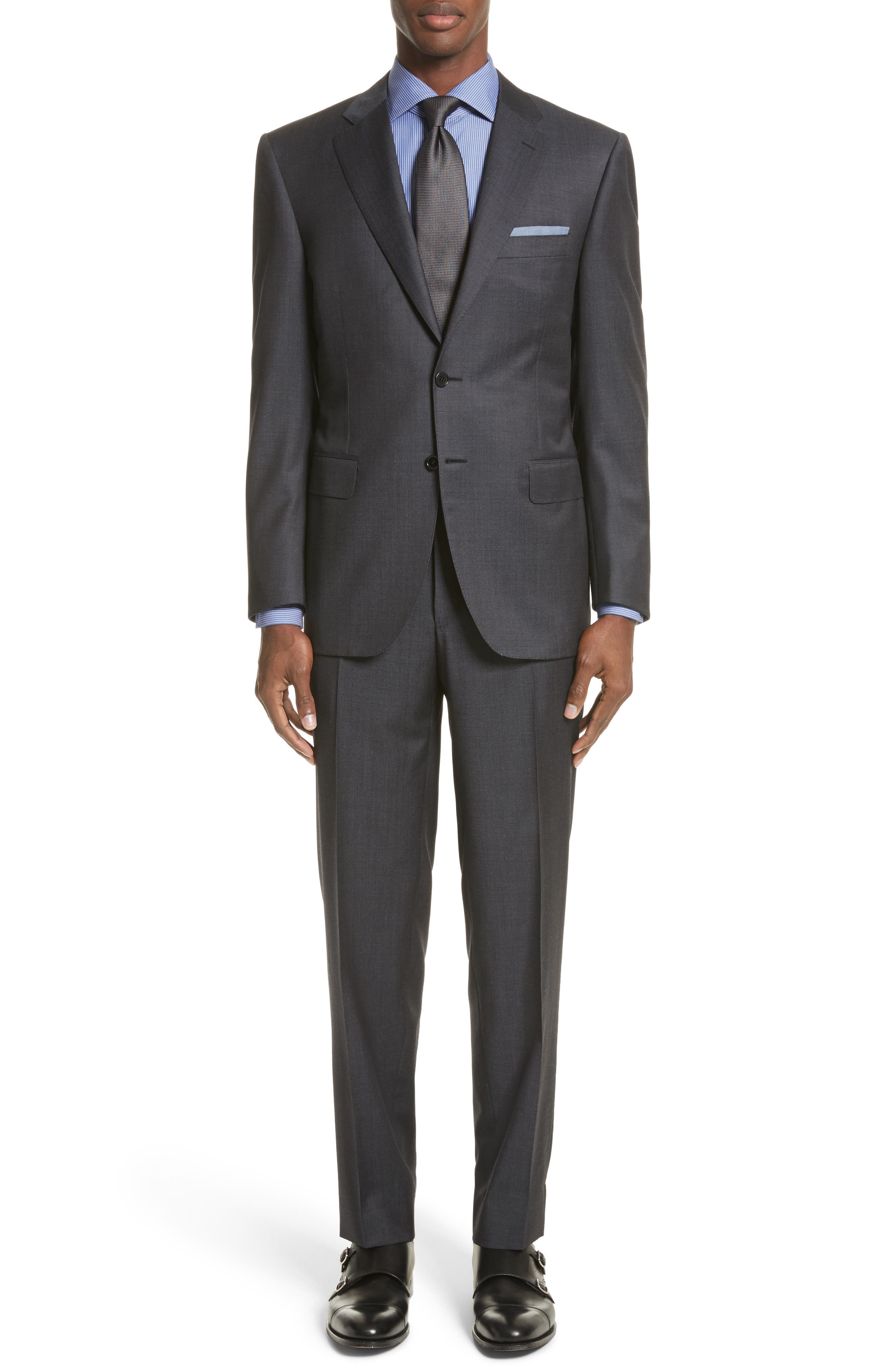 Classic Fit Solid Wool Suit,                         Main,                         color, Grey