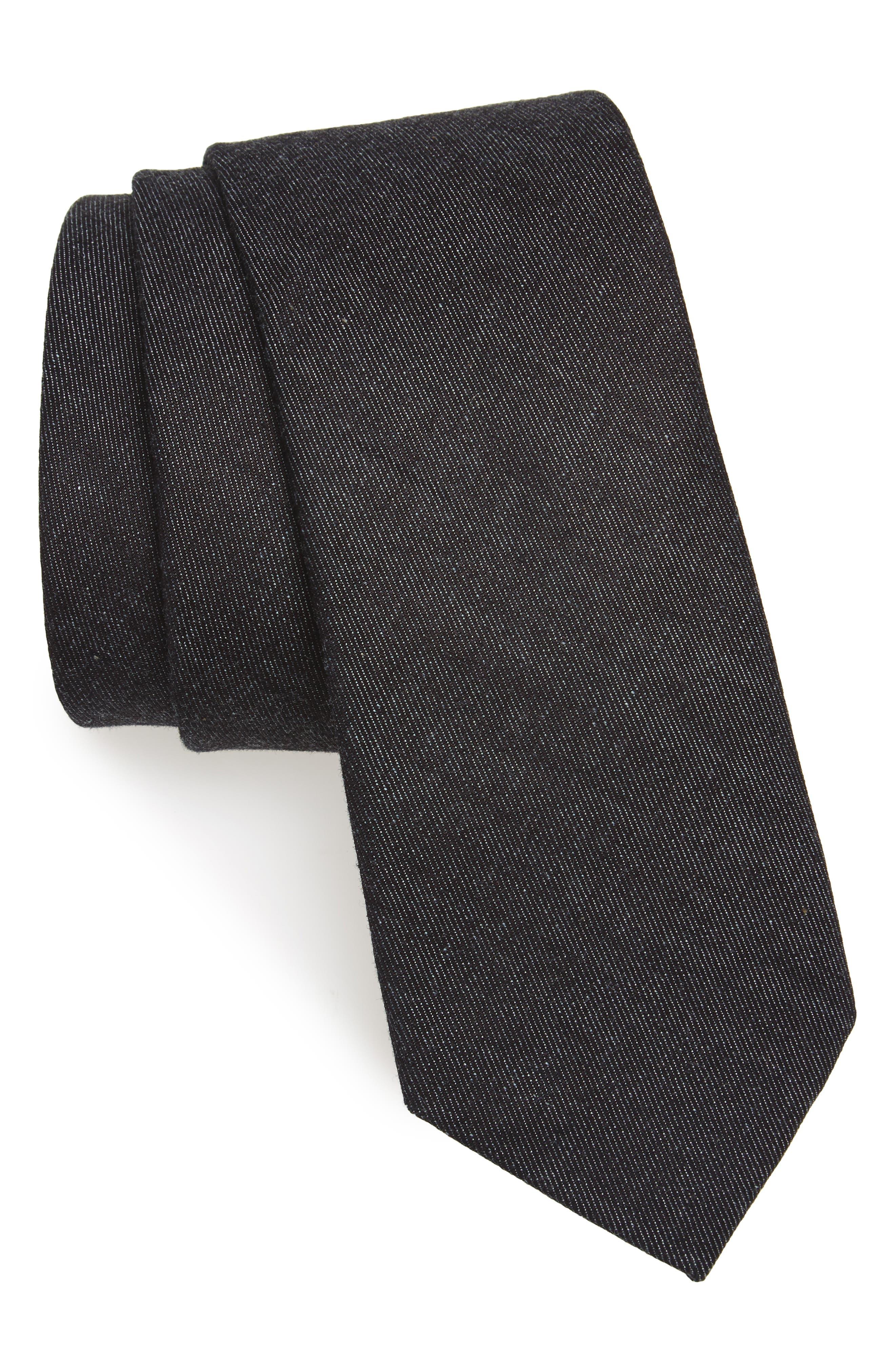 Bartlett Solid Cotton Tie,                         Main,                         color, Black