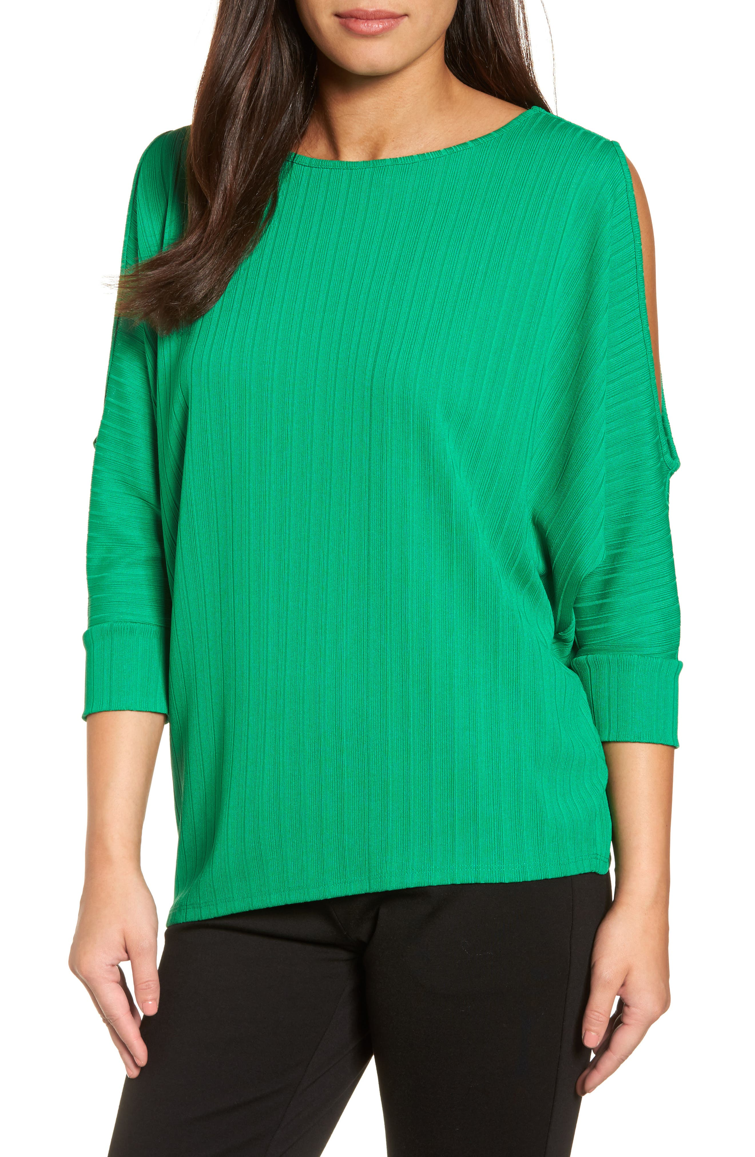 Alternate Image 1 Selected - Chaus Ribbed Knit Cold Shoulder Top