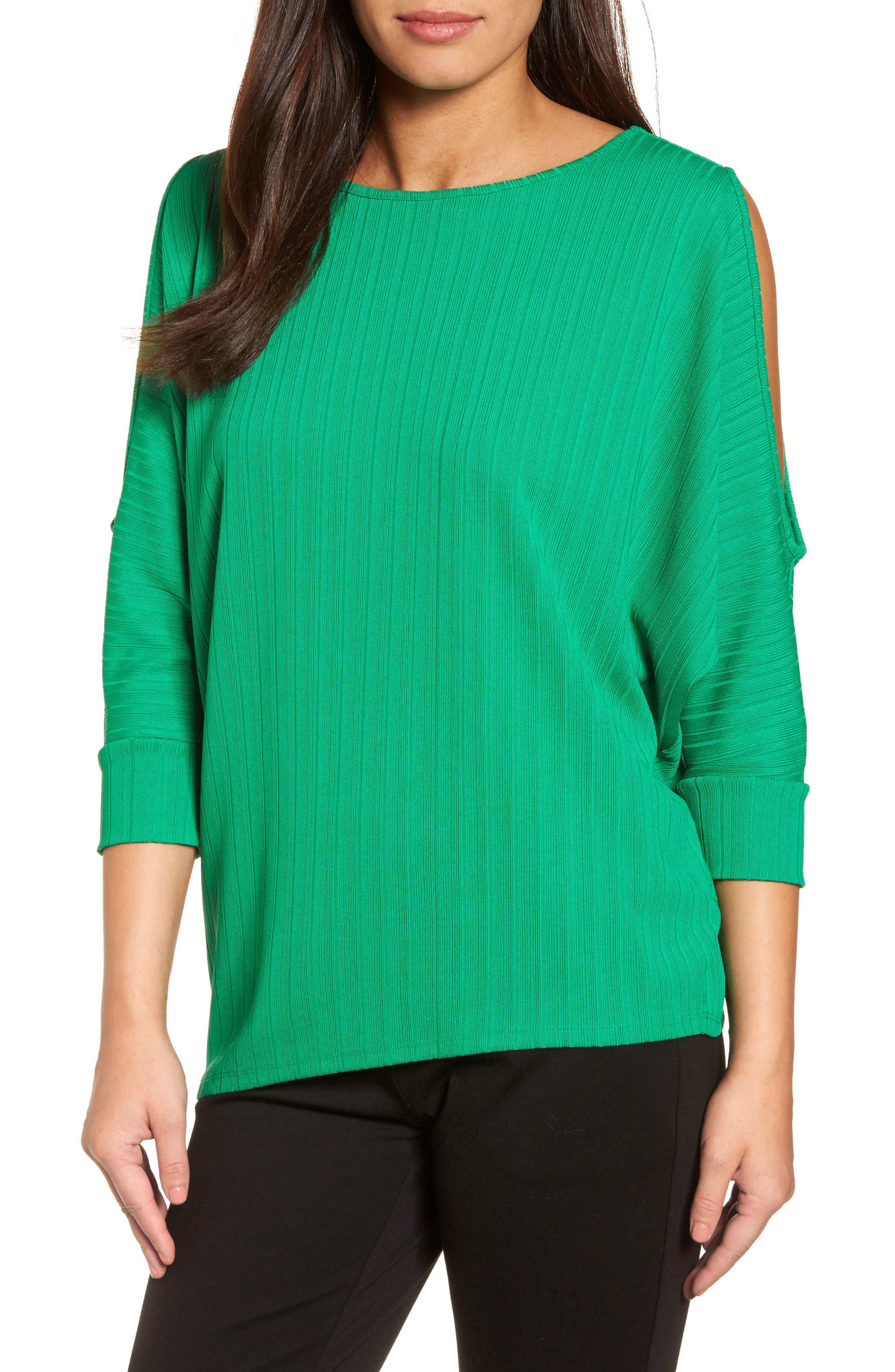 Ribbed Knit Cold Shoulder Top,                         Main,                         color, Bright Amazon