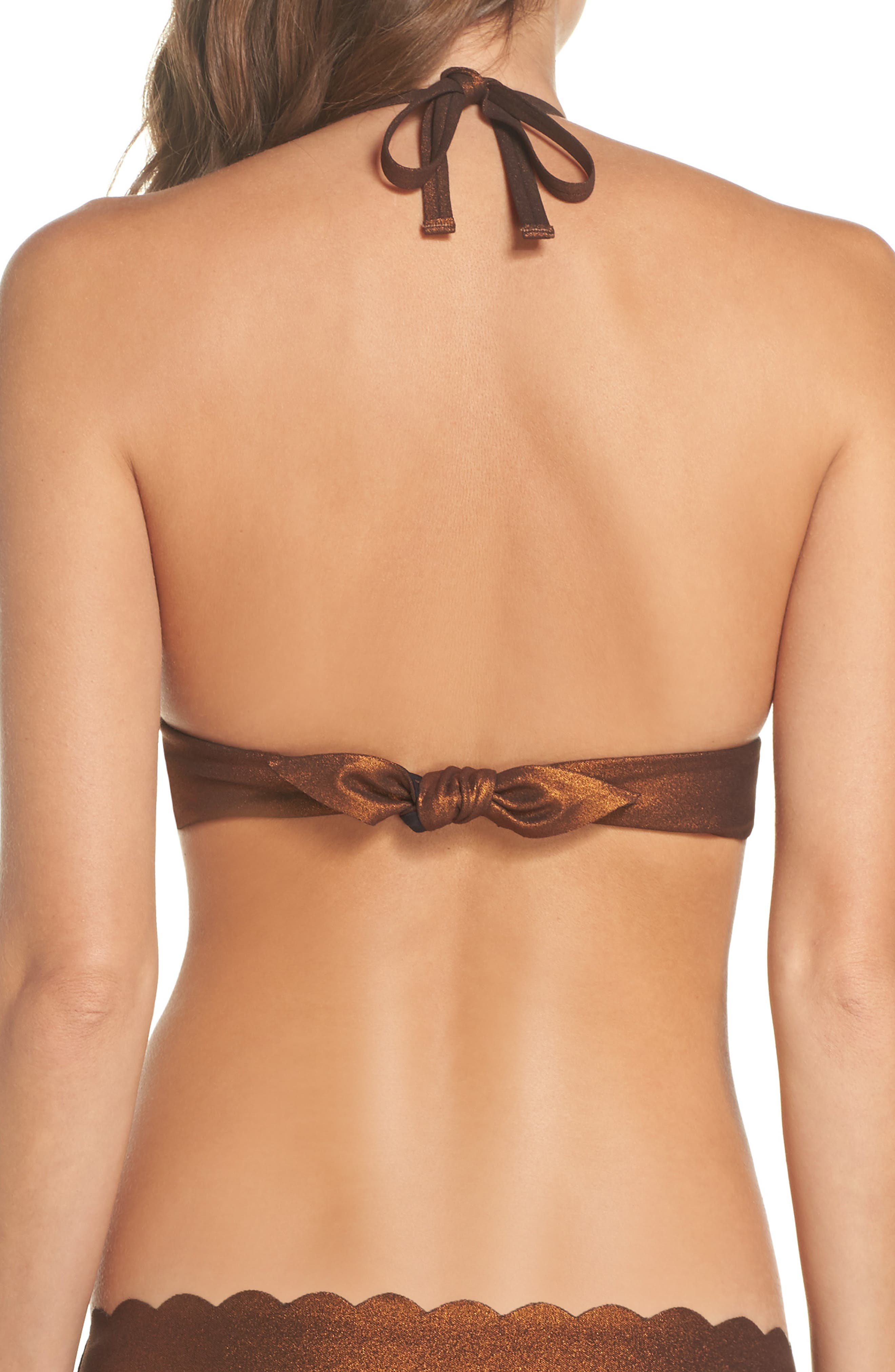 Wave Reversible Seamless Halter Bikini Top,                             Alternate thumbnail 3, color,                             Copper