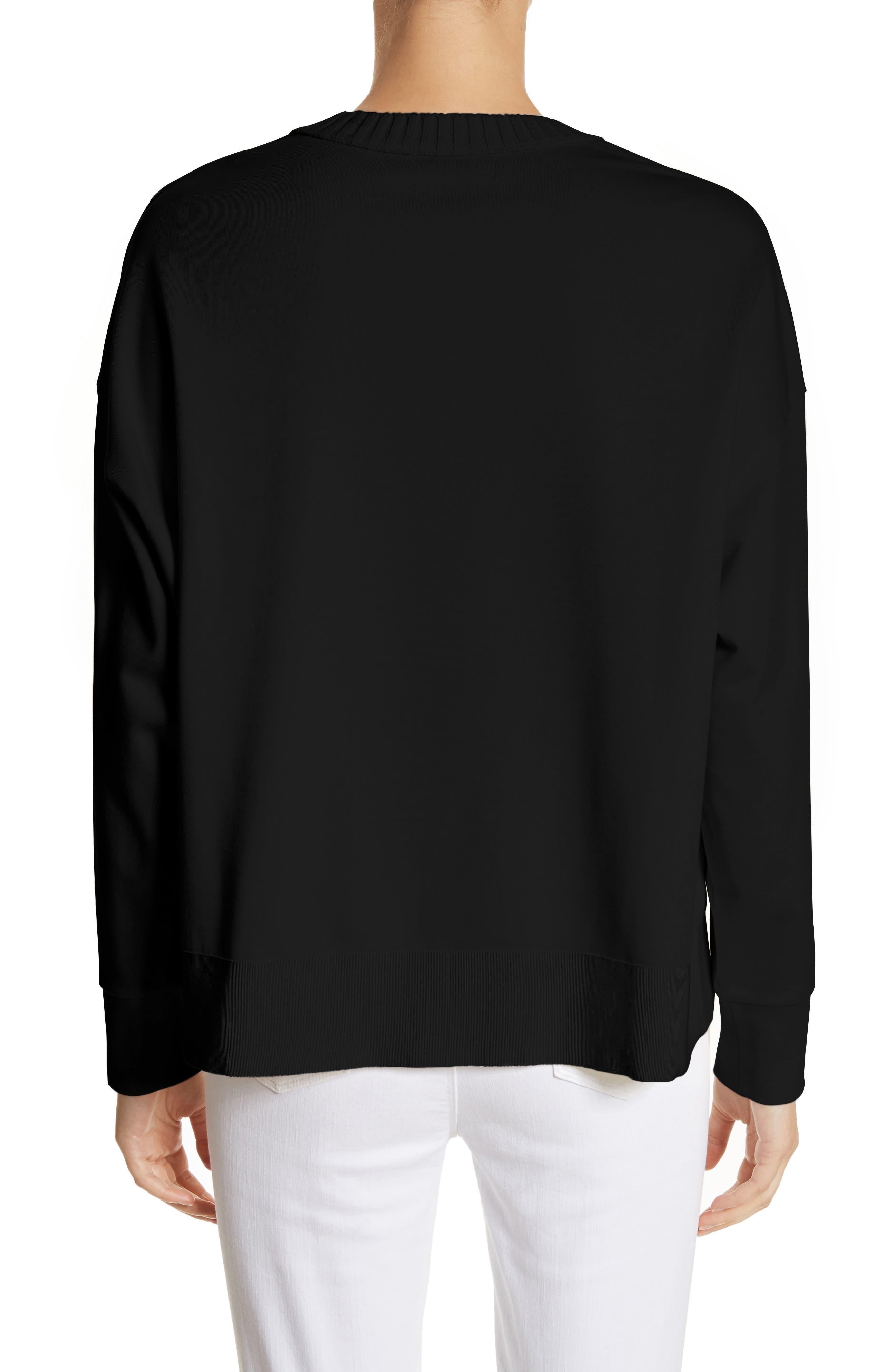 Cotton Sweatshirt,                             Alternate thumbnail 2, color,                             Black