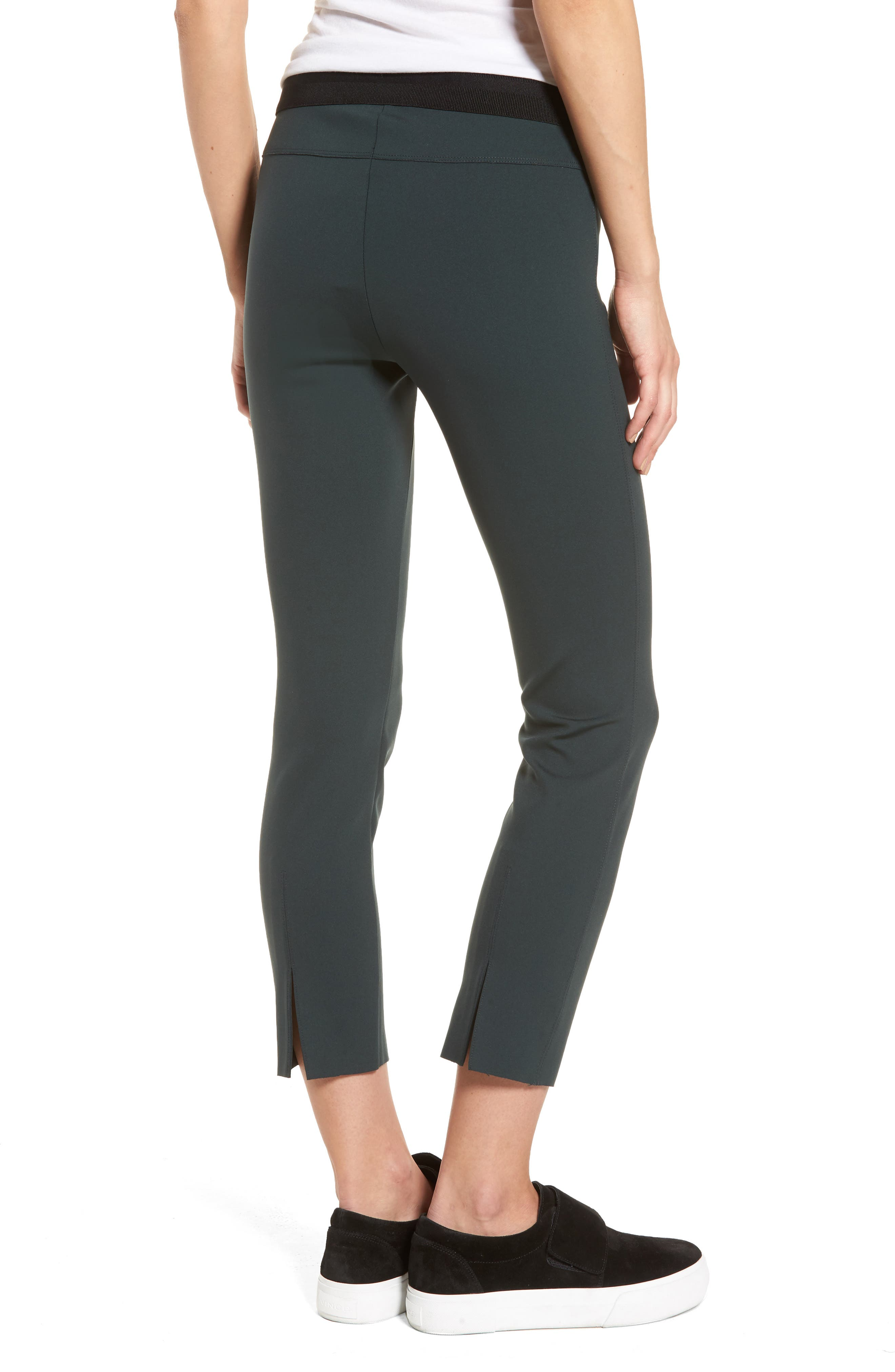 Crop Scuba Leggings,                             Alternate thumbnail 2, color,                             Black Bamboo
