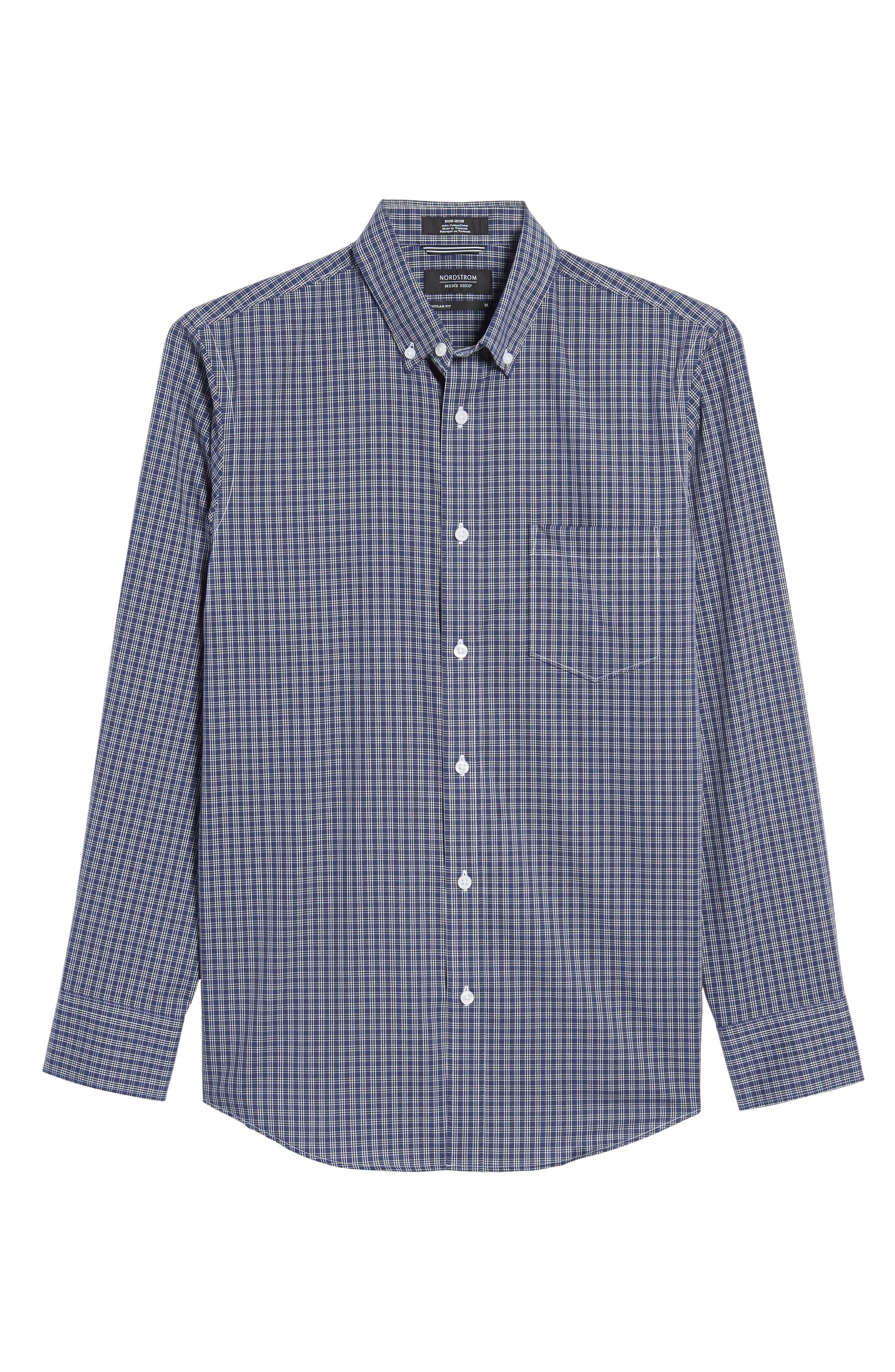 Alternate Image 6  - Nordstrom Men's Shop Regular Fit Non-Iron Mini Check Sport Shirt