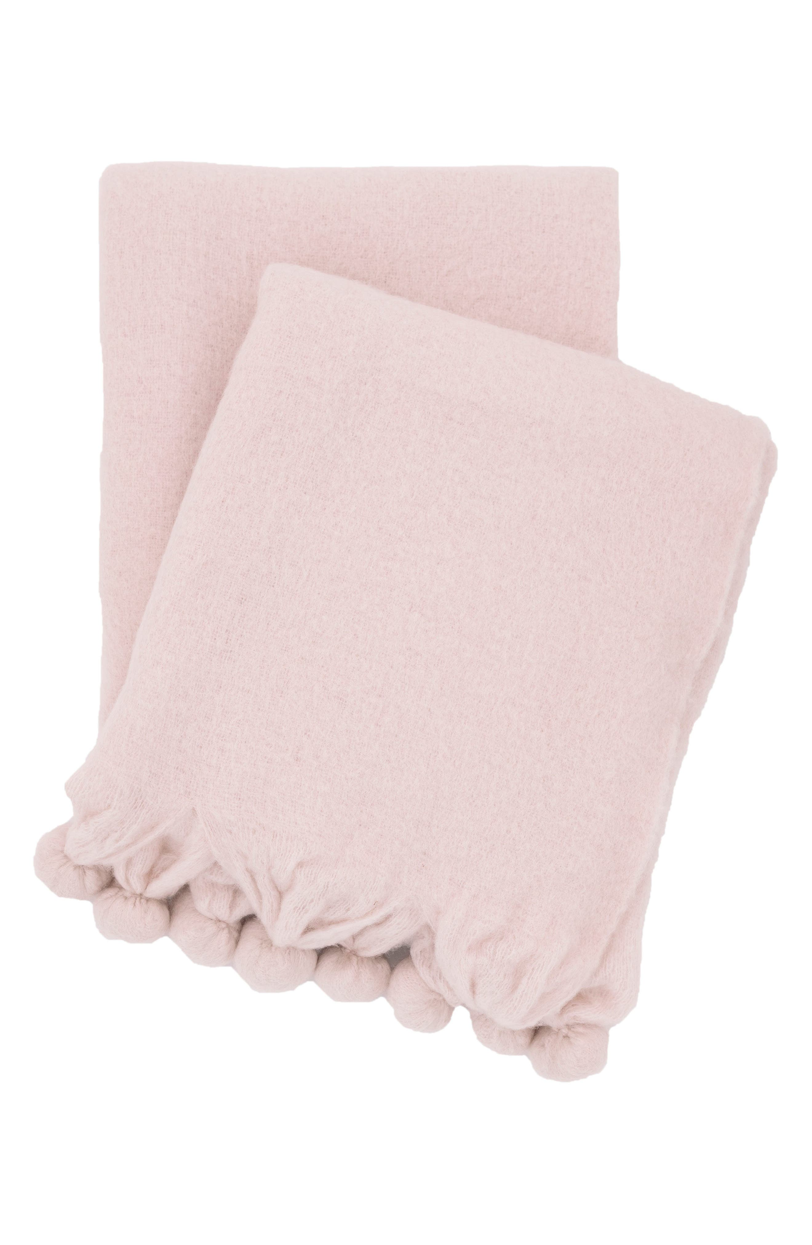 Pompom Throw,                             Main thumbnail 1, color,                             Pink
