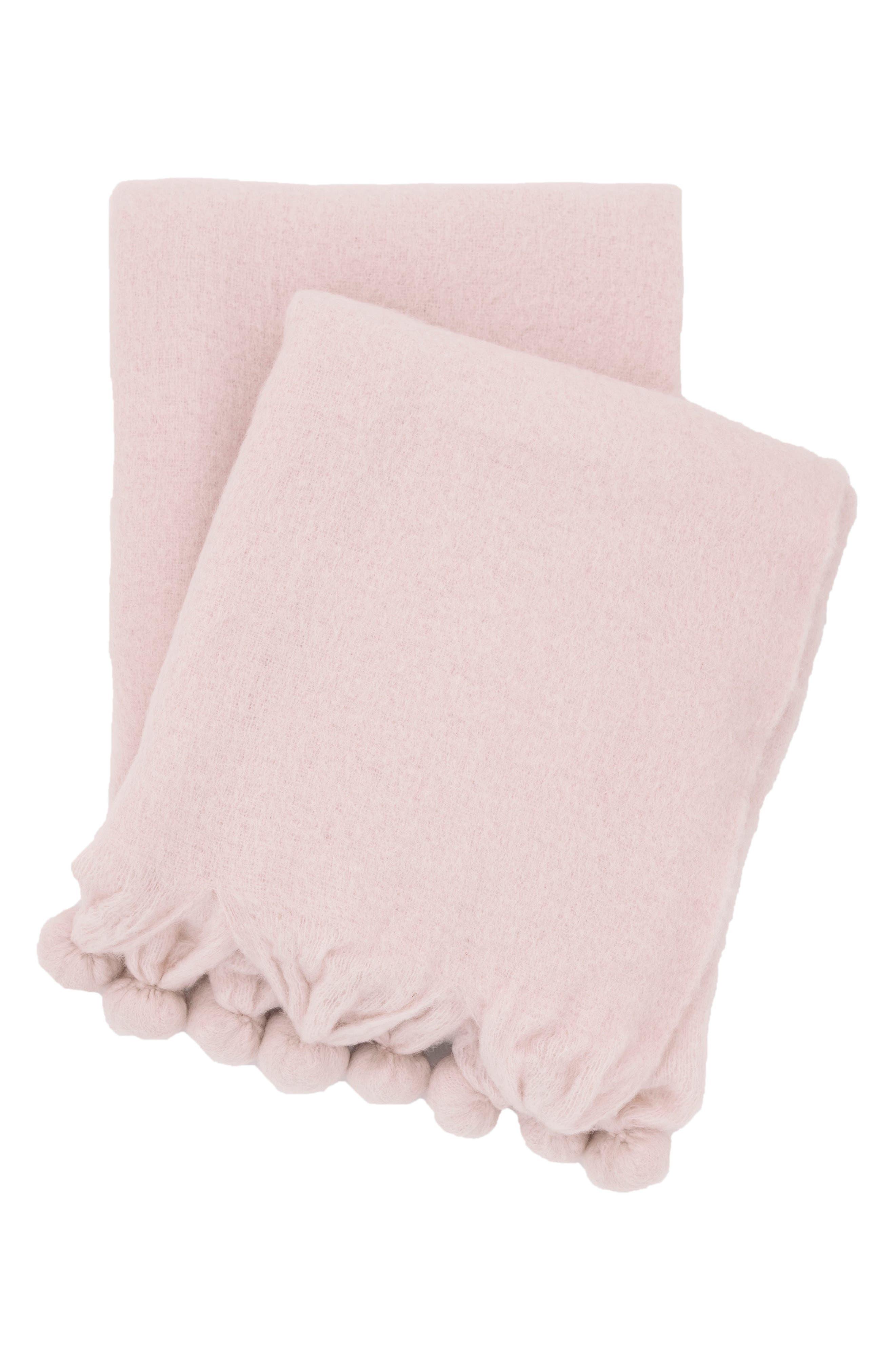 Pompom Throw,                         Main,                         color, Pink