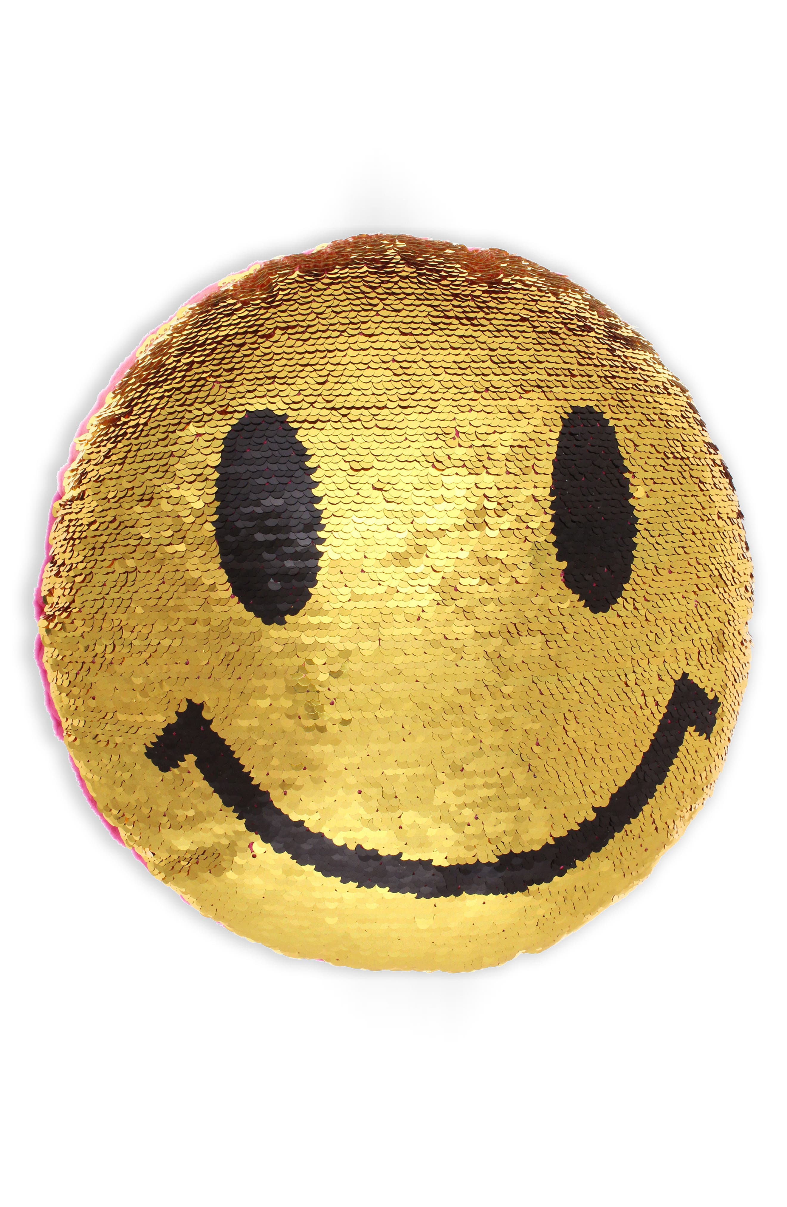 Sequin Emoji Pillow,                         Main,                         color, Gold/ Pink