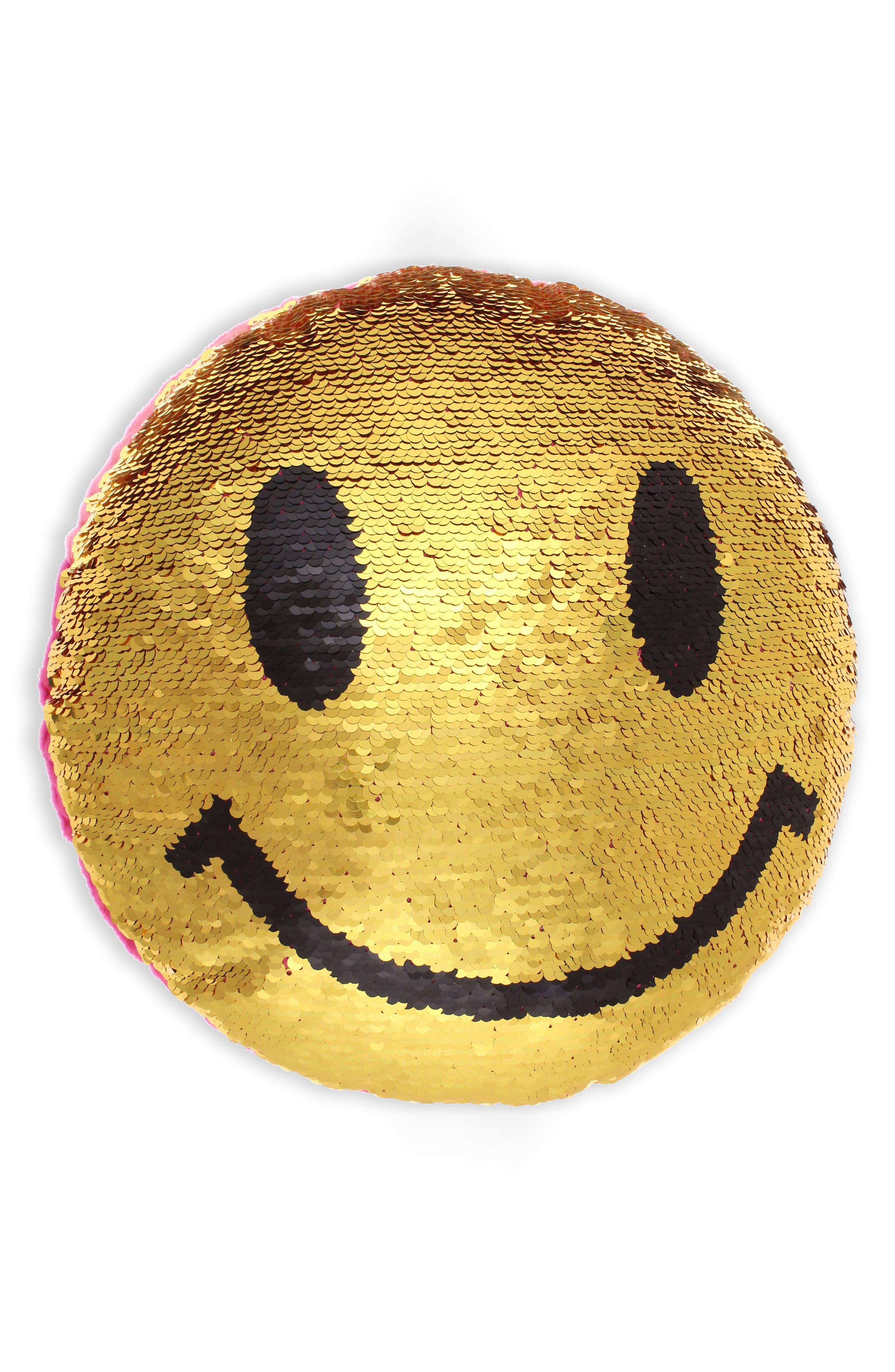 Capelli New York Sequin Emoji Pillow