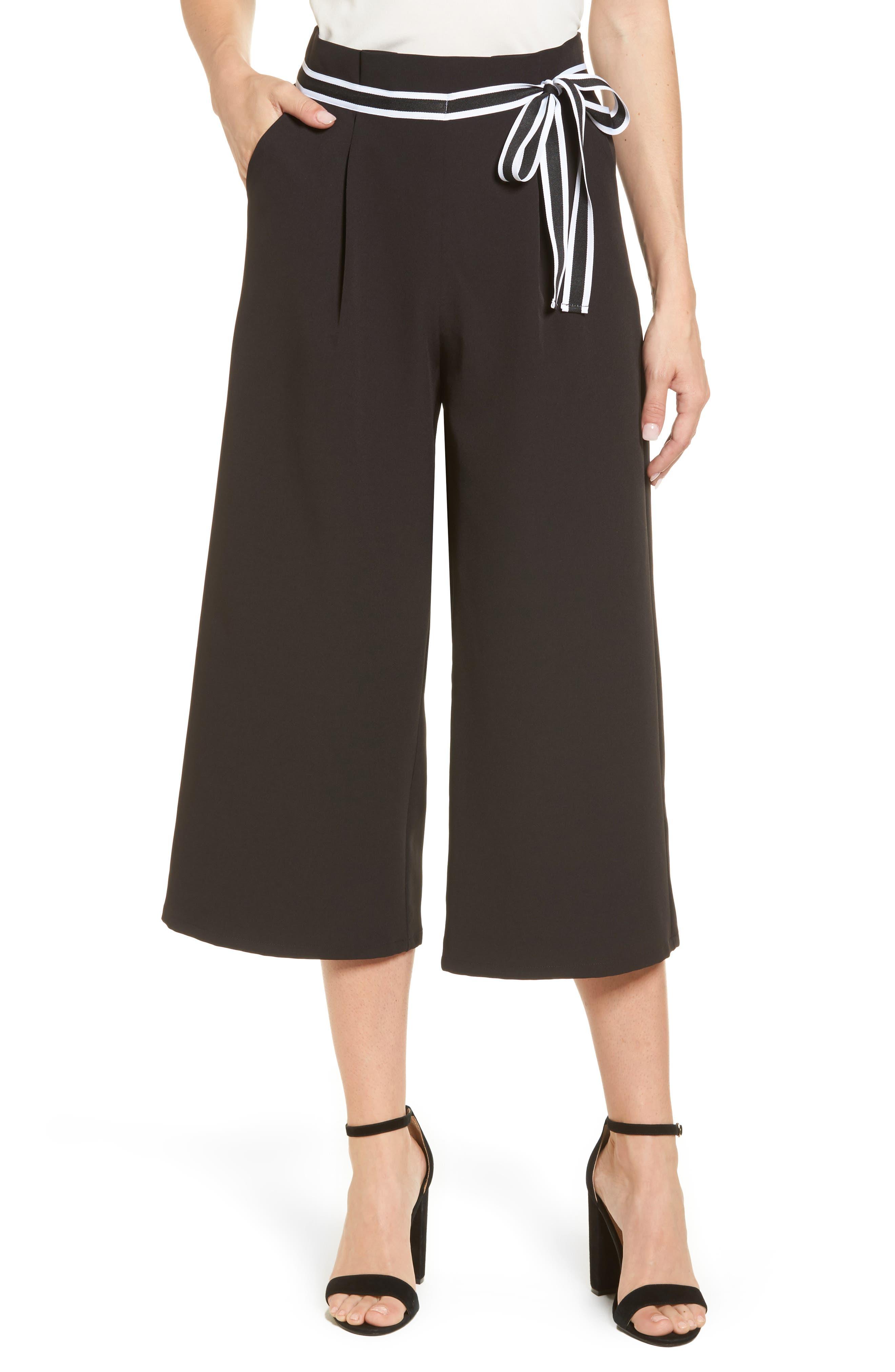 Halogen® Tie Waist Wide Leg Crop Pants