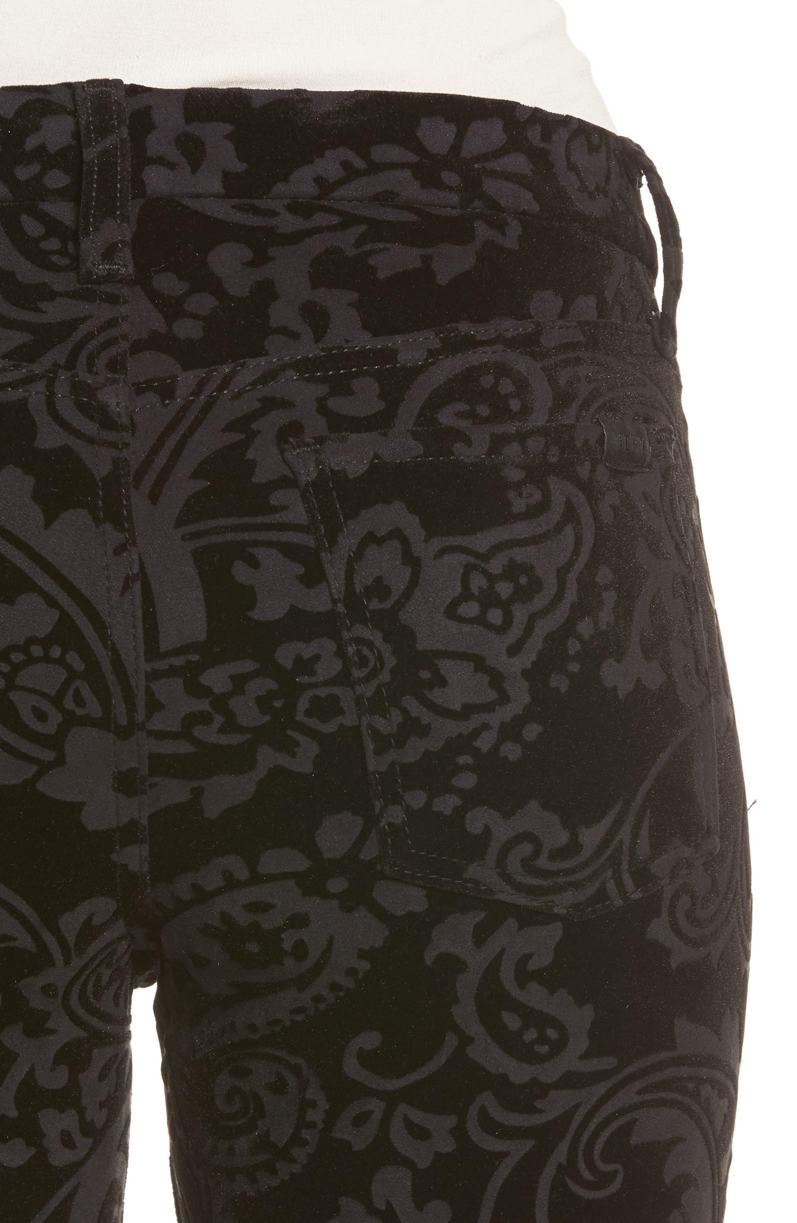 Paisley Velvet Ankle Skinny Jeans,                             Alternate thumbnail 4, color,                             Black