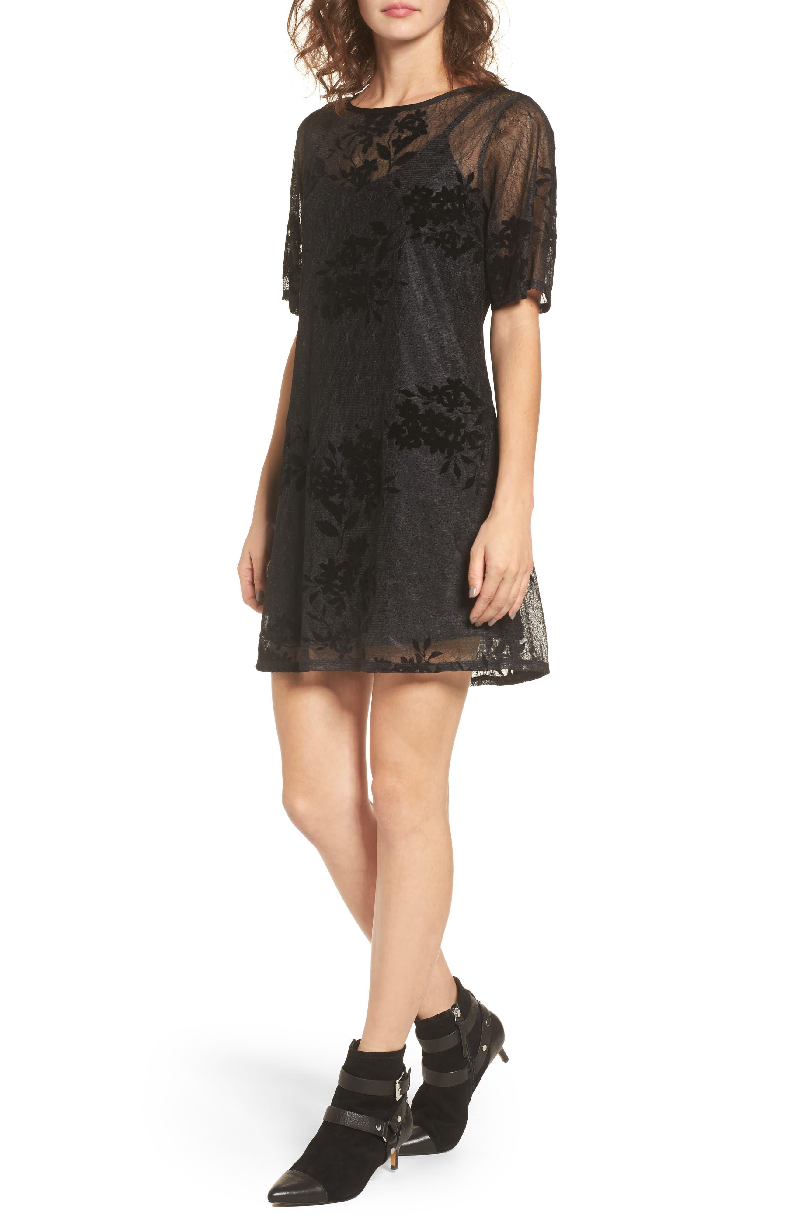 Flocked Lace A-Line Dress,                             Main thumbnail 1, color,                             Black Lace