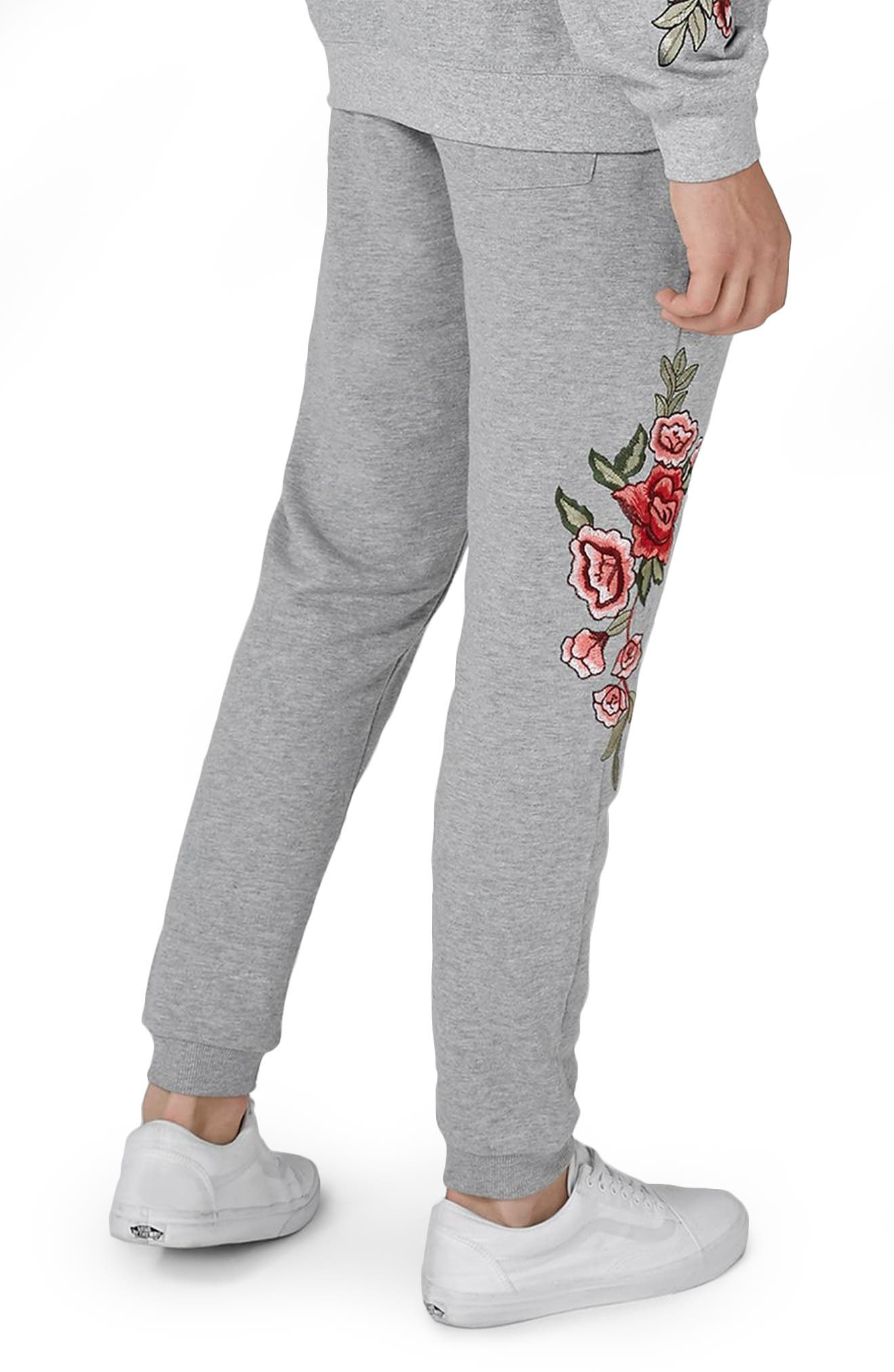 Rose Embroidered Jogger Pants,                             Alternate thumbnail 2, color,                             Grey