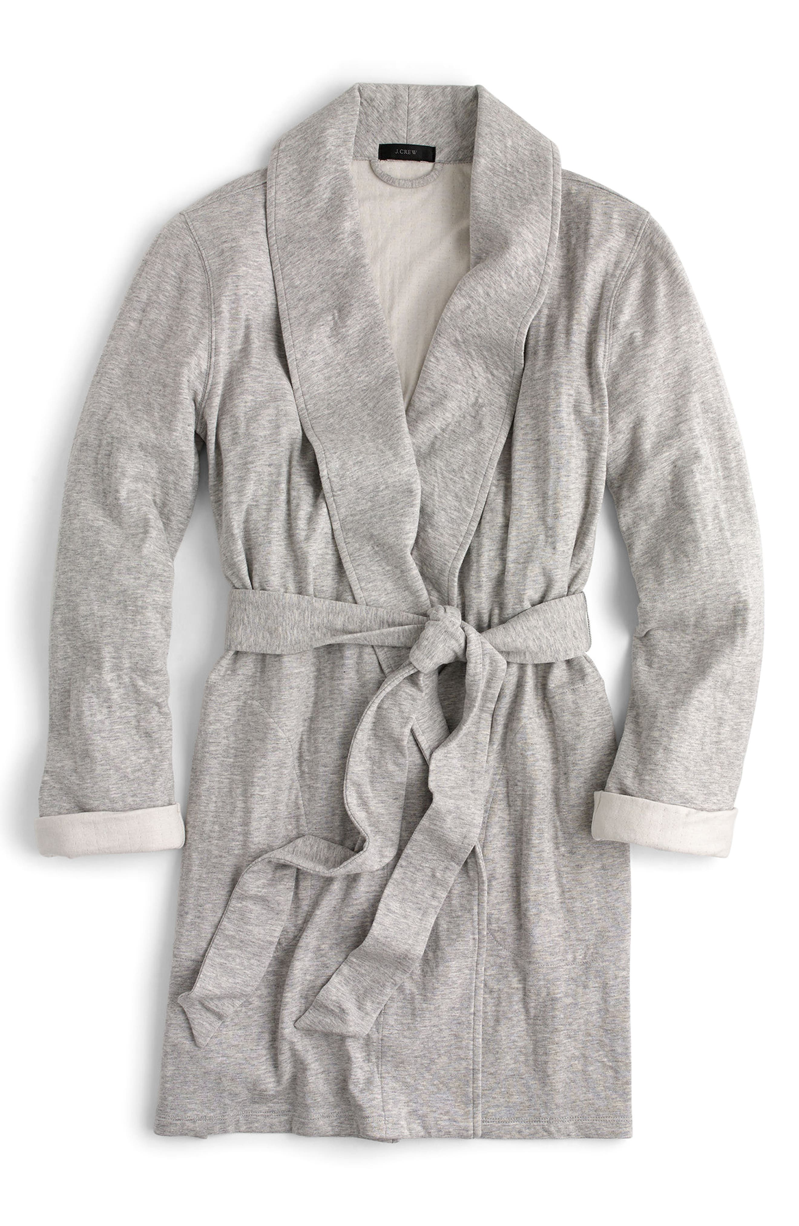 Sunday Double Knit Short Robe,                             Alternate thumbnail 3, color,                             Sleepy Grey
