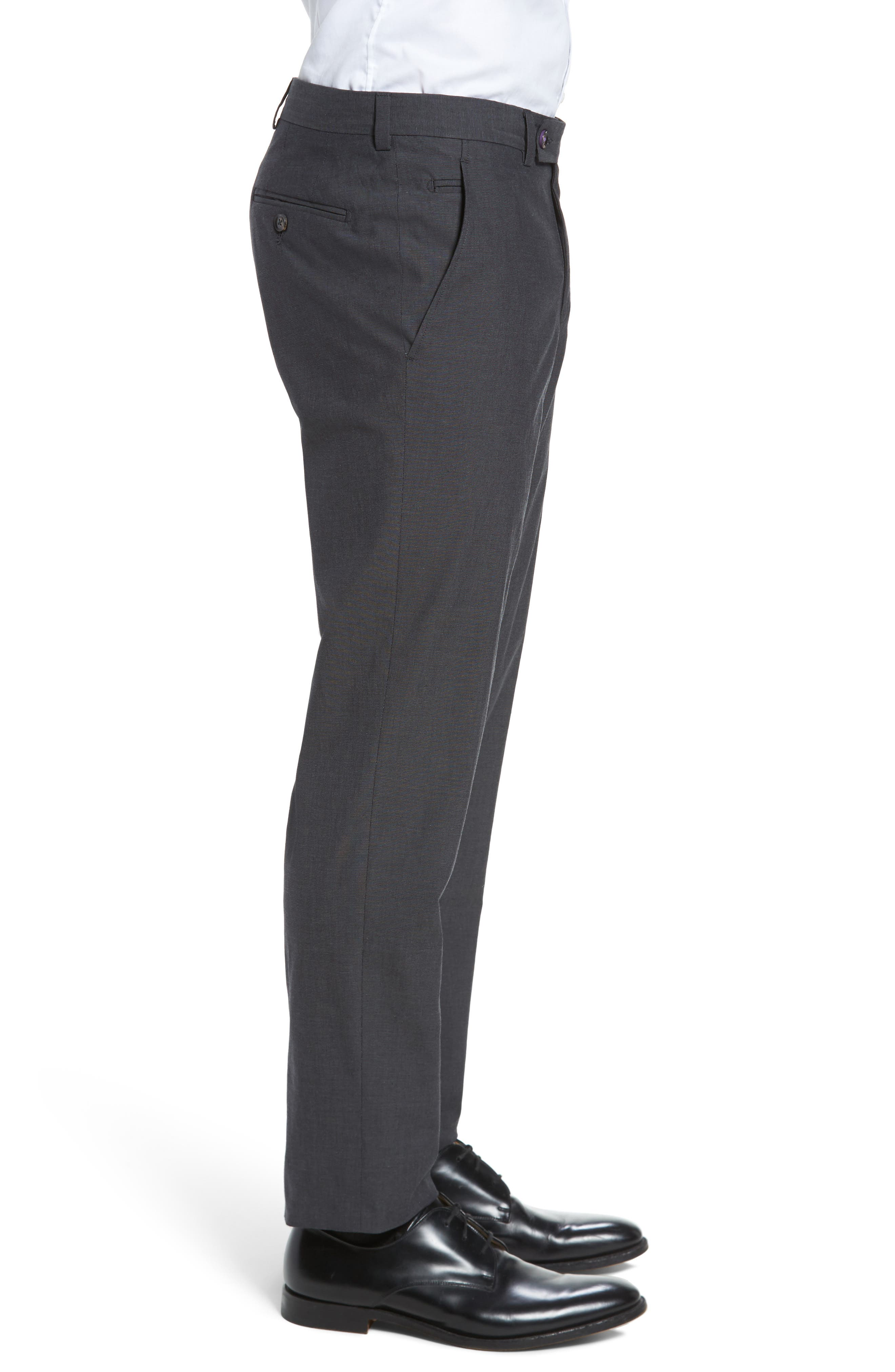 Jerome Flat Front Stretch Solid Cotton Trousers,                             Alternate thumbnail 3, color,                             Charcoal