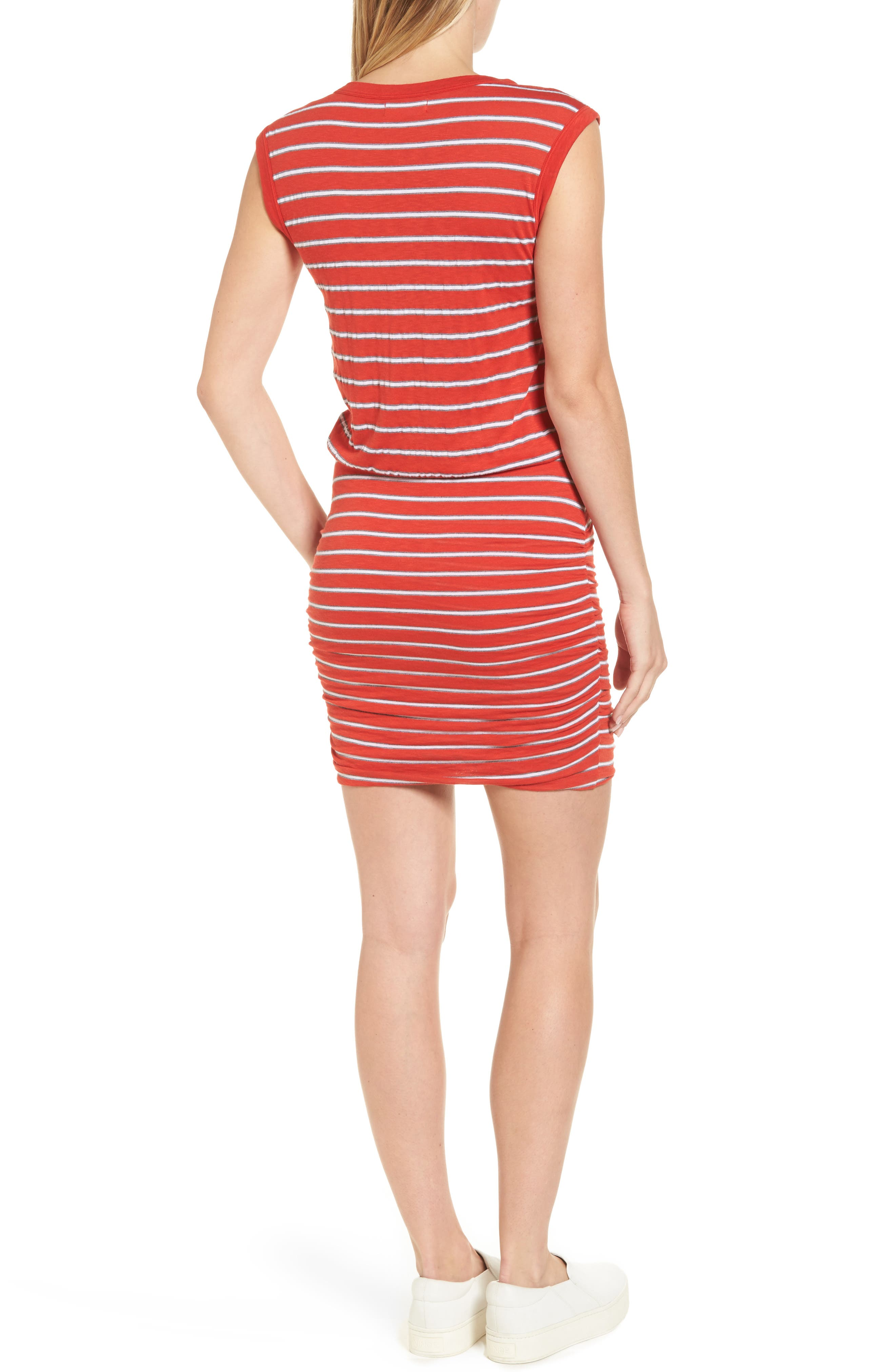 Stripe Ruched Dress,                             Alternate thumbnail 2, color,                             Rouge