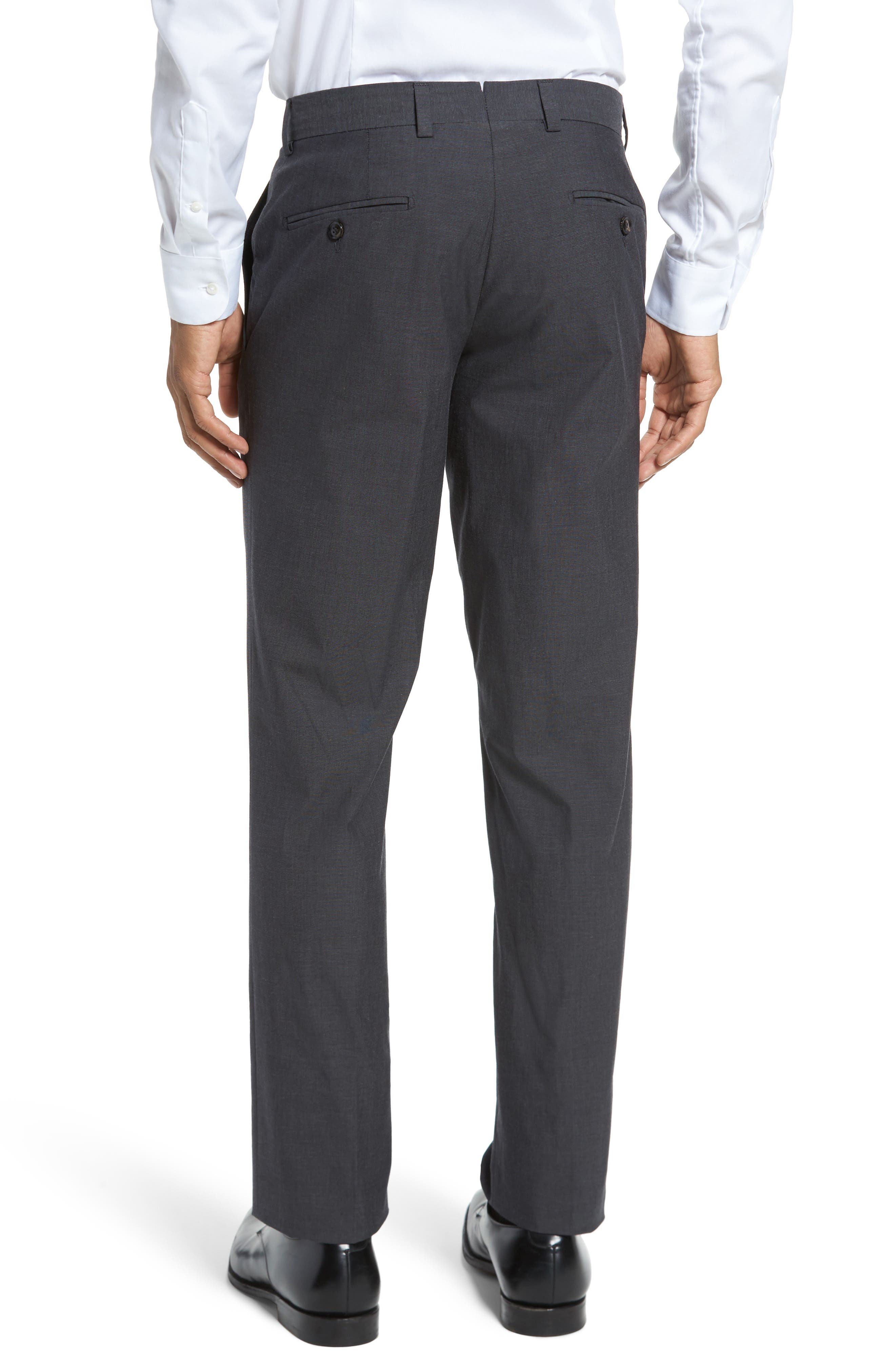 Jerome Flat Front Stretch Solid Cotton Trousers,                             Alternate thumbnail 2, color,                             Charcoal