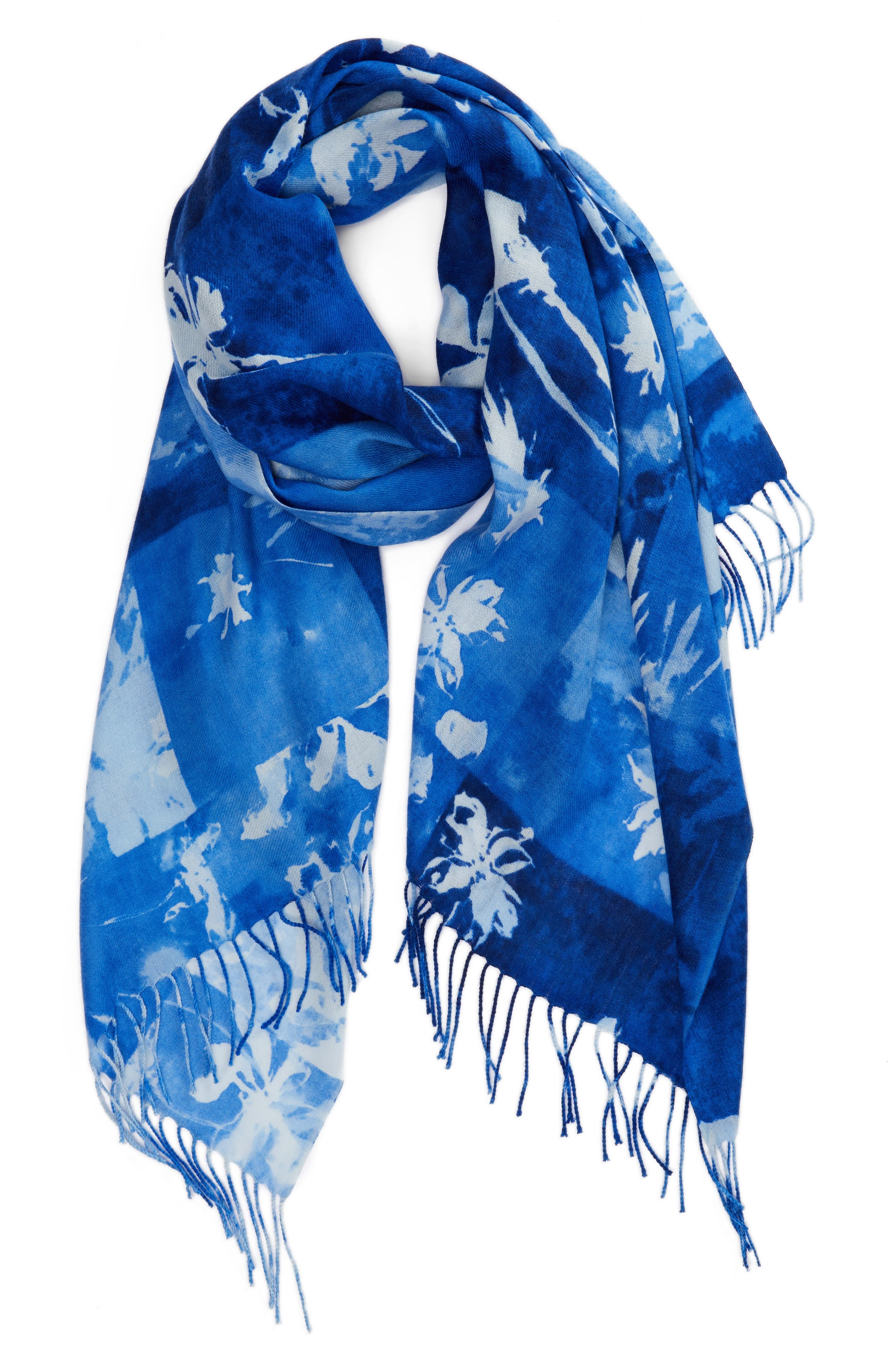 Solar Patchwork Tissue Wool & Cashmere Scarf,                             Alternate thumbnail 4, color,                             Blue Combo