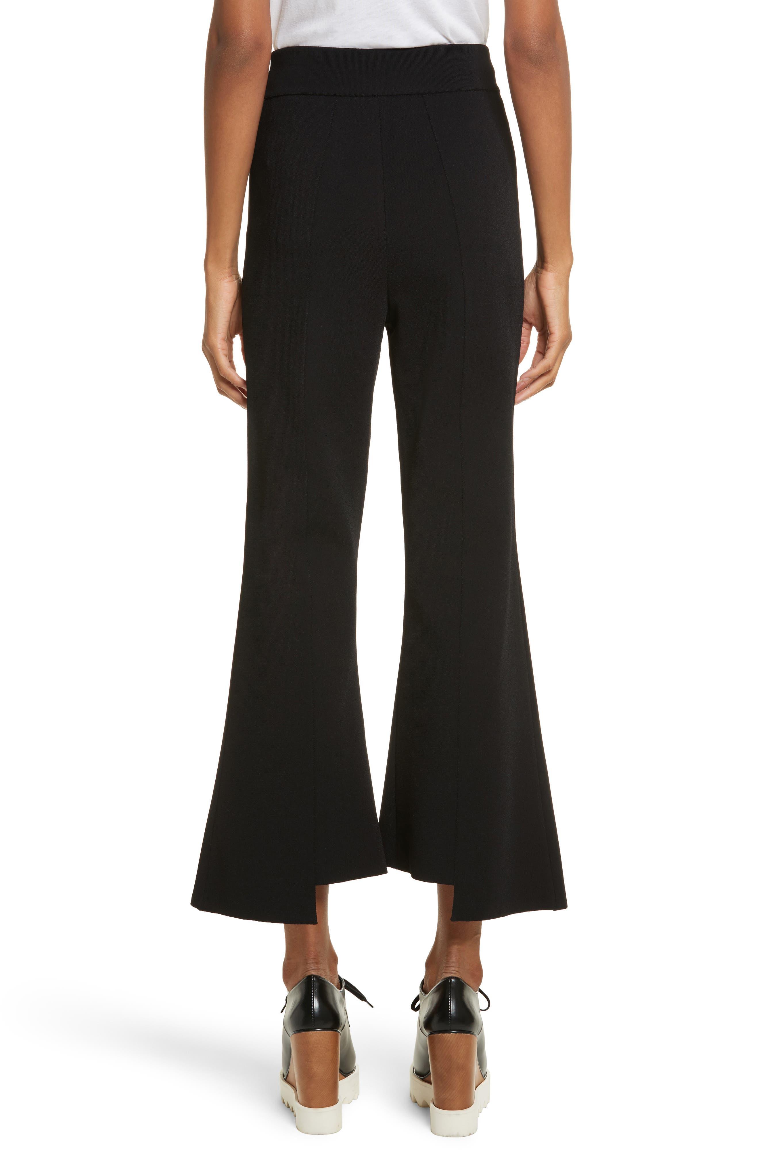 Compact Knit Crop Flare Pants,                             Alternate thumbnail 2, color,                             Black