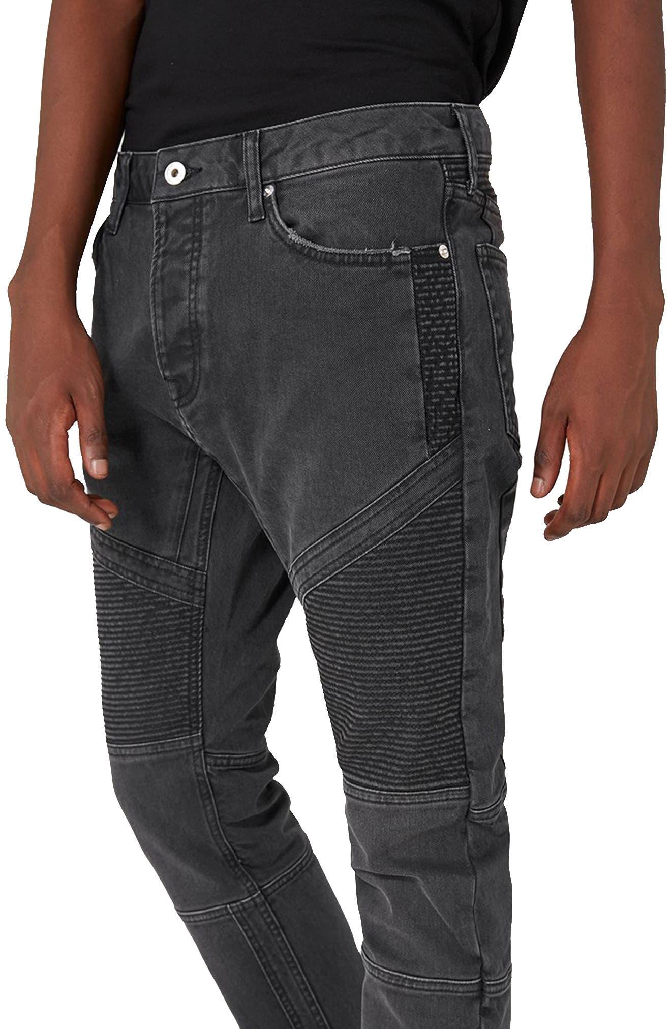 Biker Stretch Skinny Jeans,                             Alternate thumbnail 3, color,                             Dark Grey