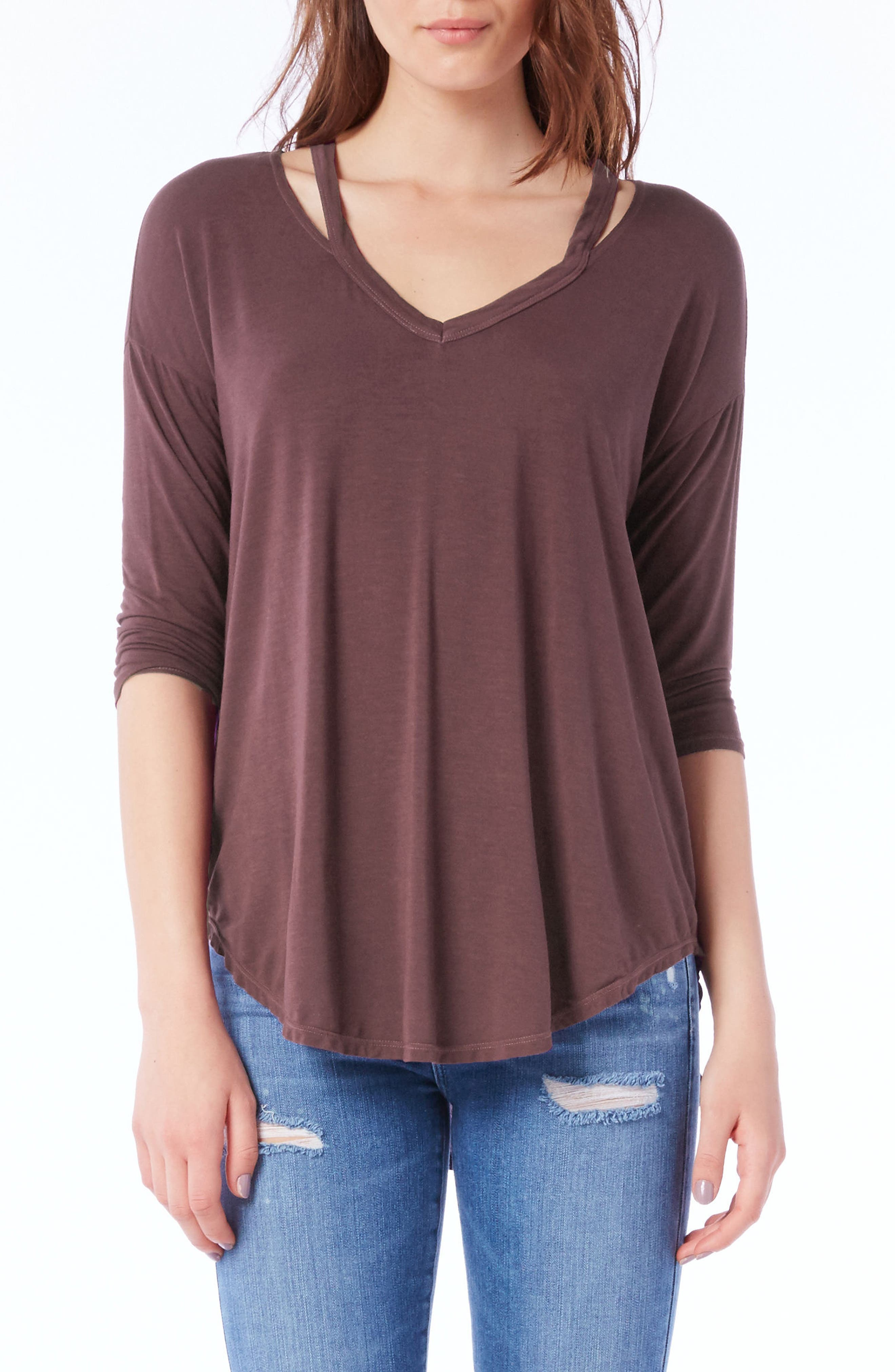 Alternate Image 1 Selected - Michael Stars Shoulder Cutout Jersey Top