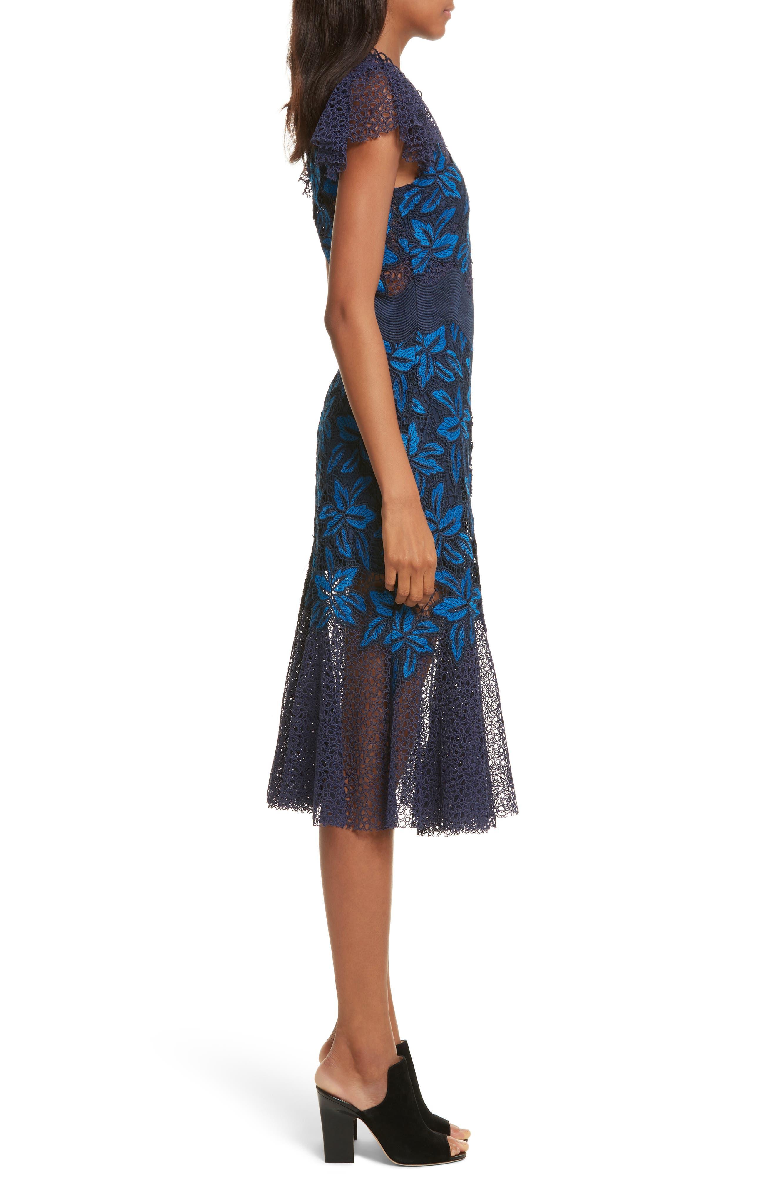 Mosaic Lace Midi Dress,                             Alternate thumbnail 3, color,                             Blue Multi
