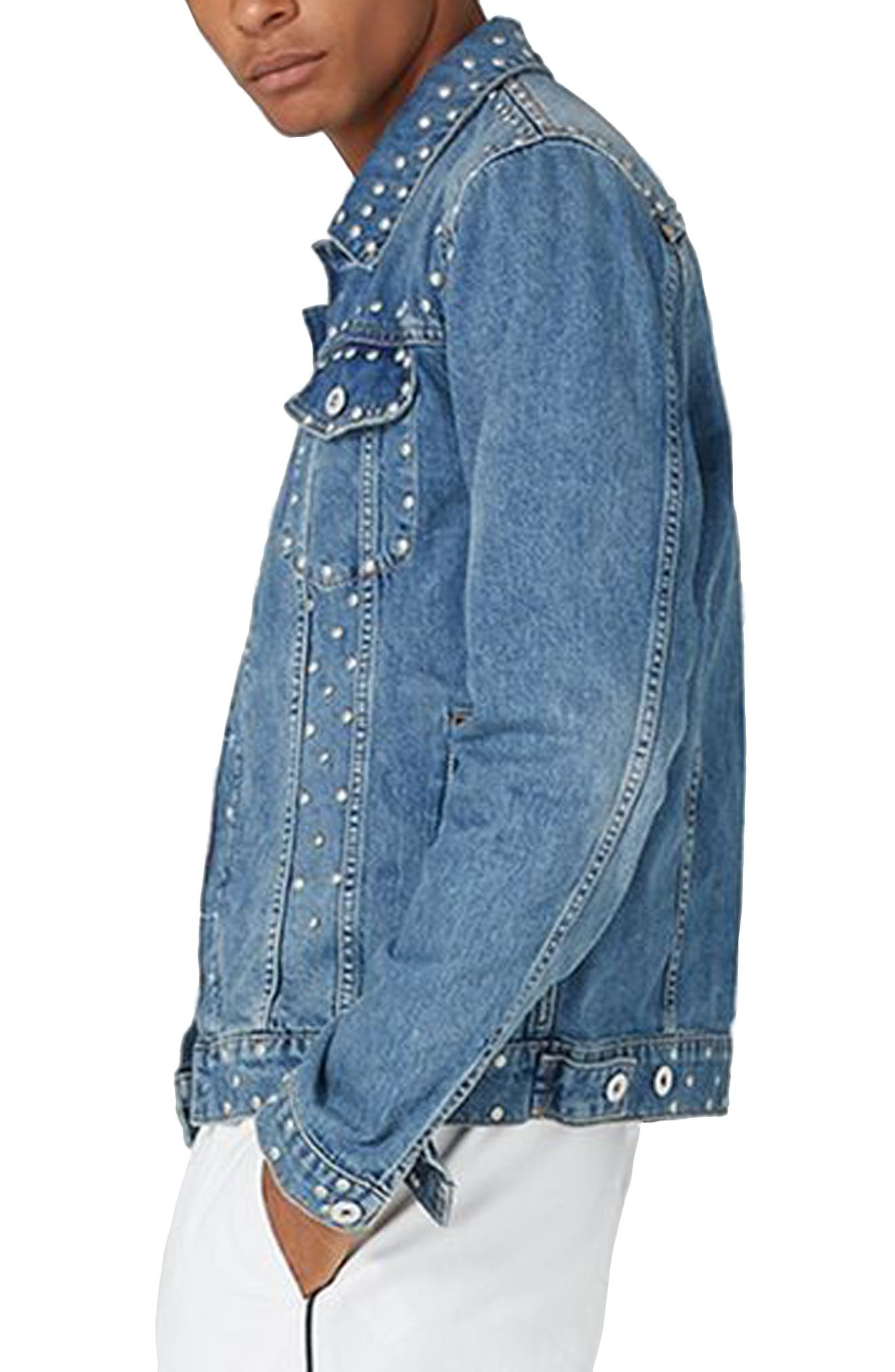 Studded Denim Jacket,                             Alternate thumbnail 3, color,                             Light Blue