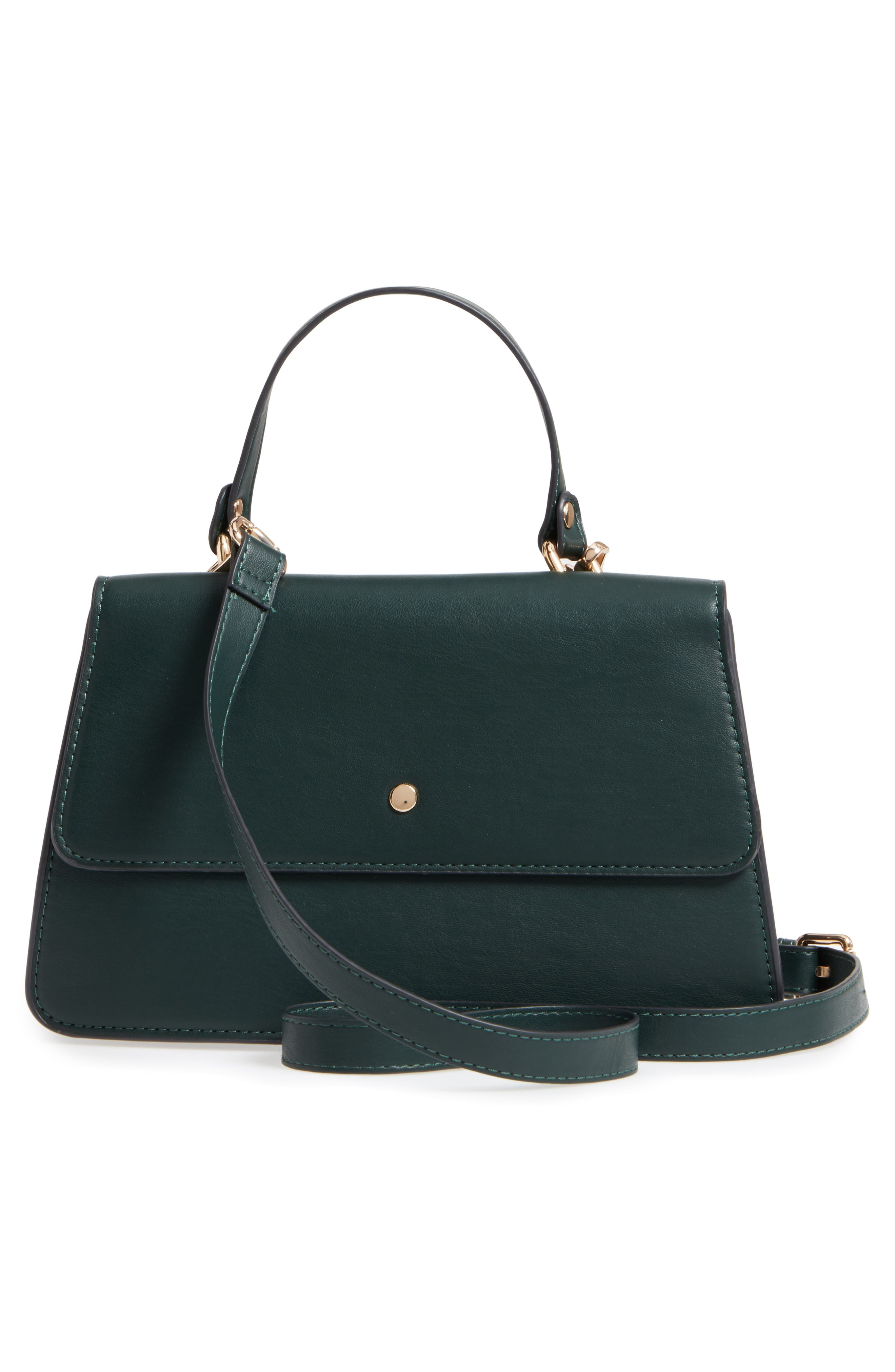 Faux Leather Satchel,                             Alternate thumbnail 3, color,                             Woodland Green