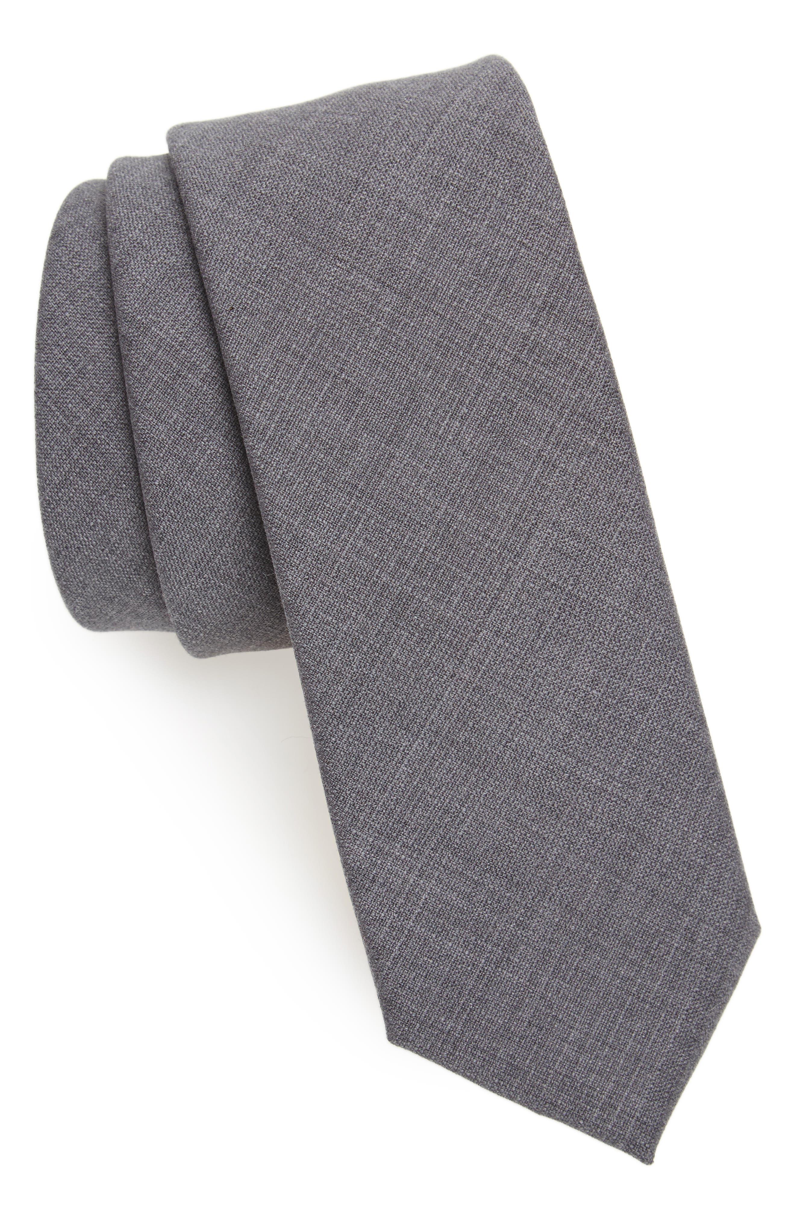Solid Wool Skinny Tie,                             Main thumbnail 1, color,                             Grey