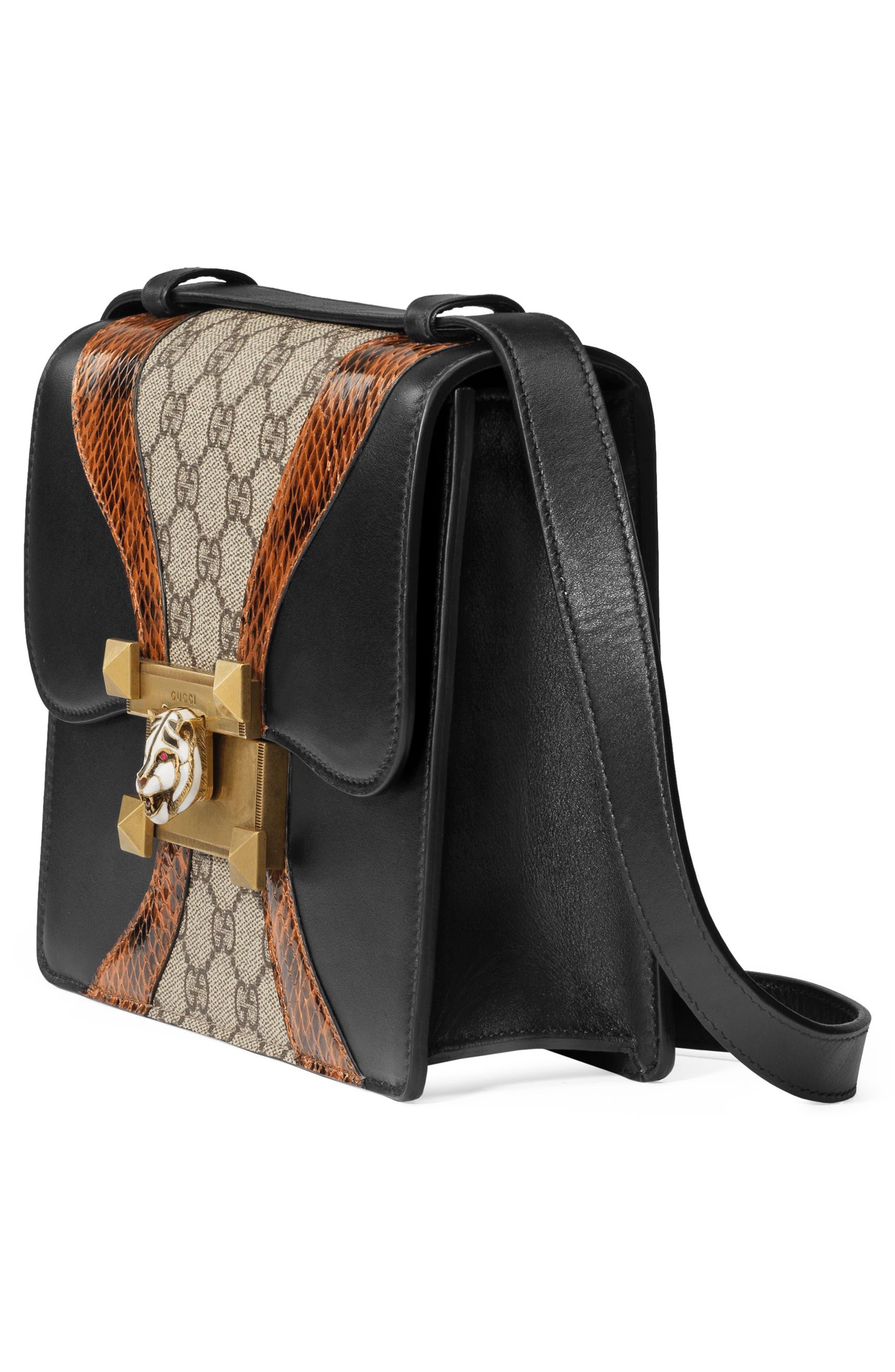 Osiride Genuine Snakeskin & GG Supreme Shoulder Bag,                             Alternate thumbnail 4, color,                             Nero/ Cuir/ Beige Ebony/ Ruby