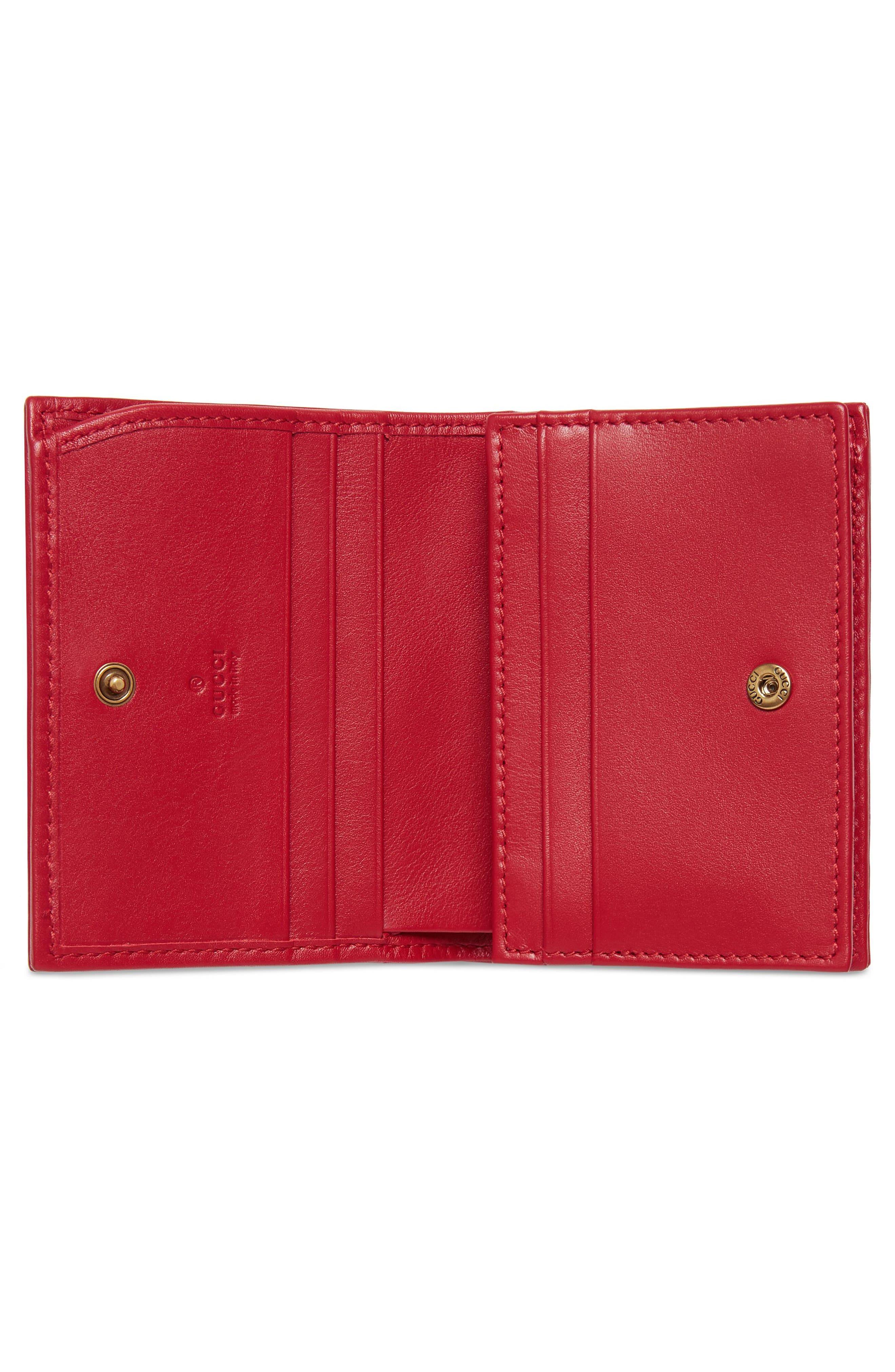 GG Marmont Matelassé Leather Card Case,                             Alternate thumbnail 2, color,                             Hibiscus Red
