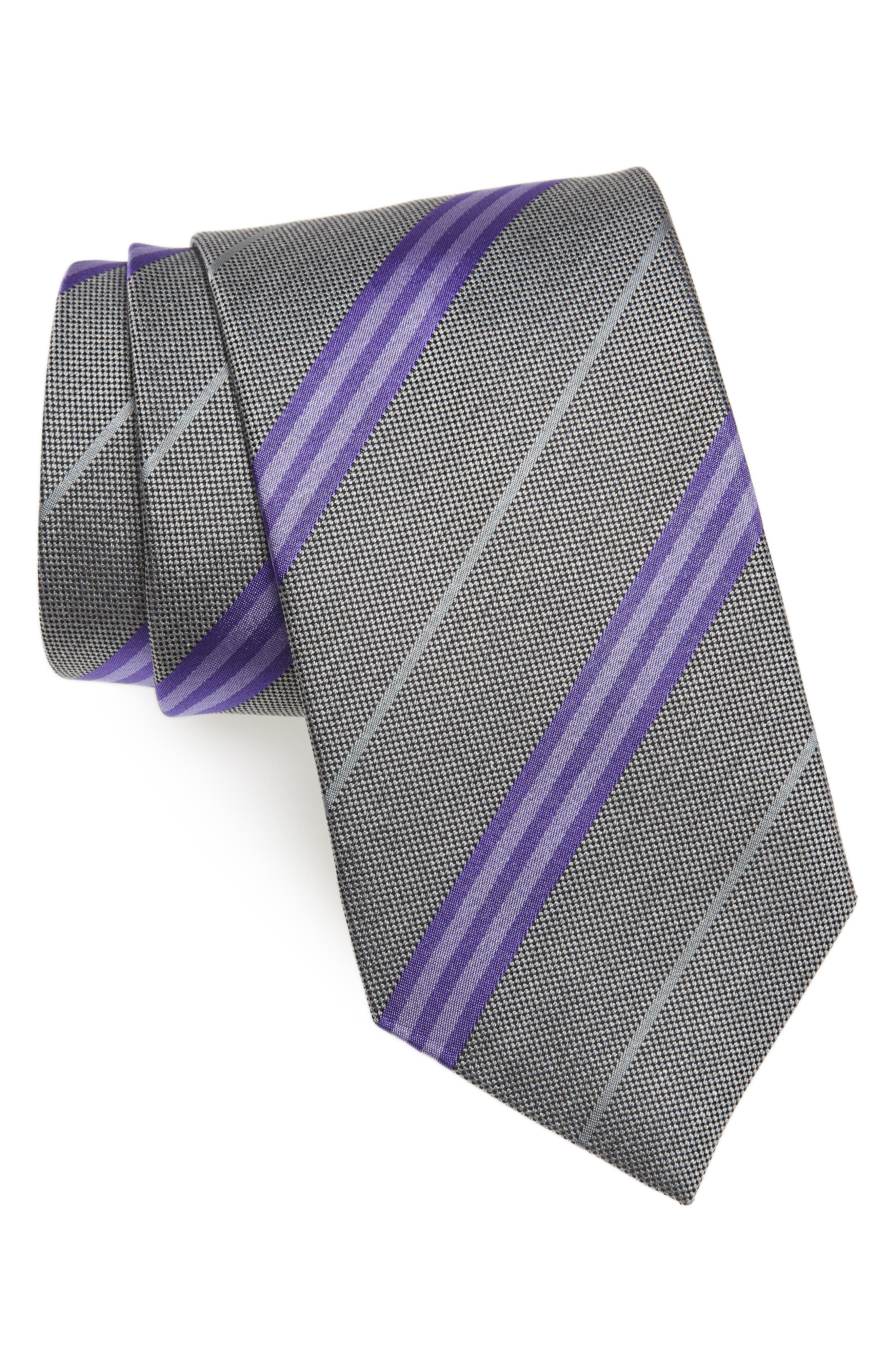 Stripe Silk Tie,                             Main thumbnail 1, color,                             Charcoal/ Purple