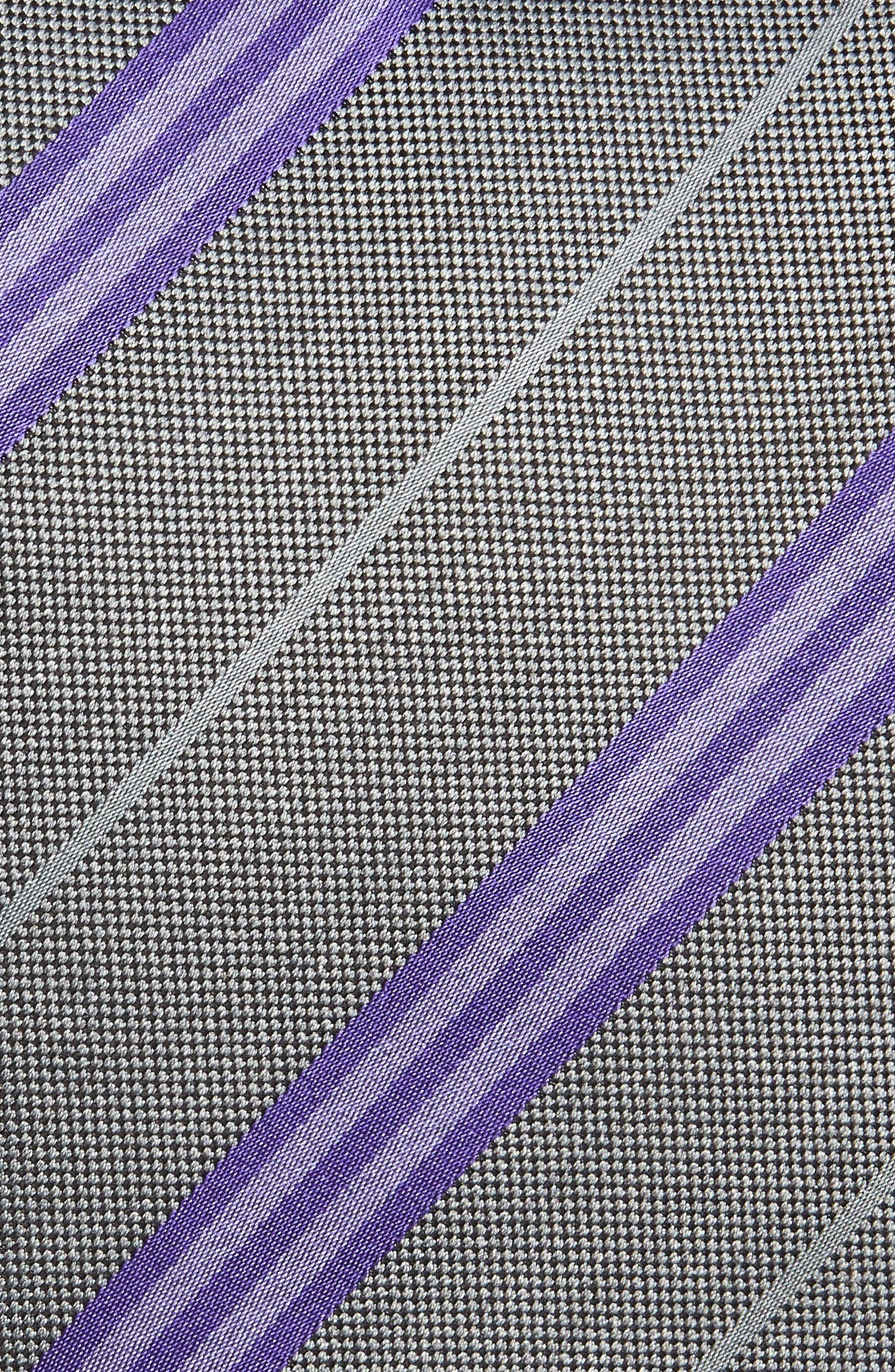Stripe Silk Tie,                             Alternate thumbnail 2, color,                             Charcoal/ Purple