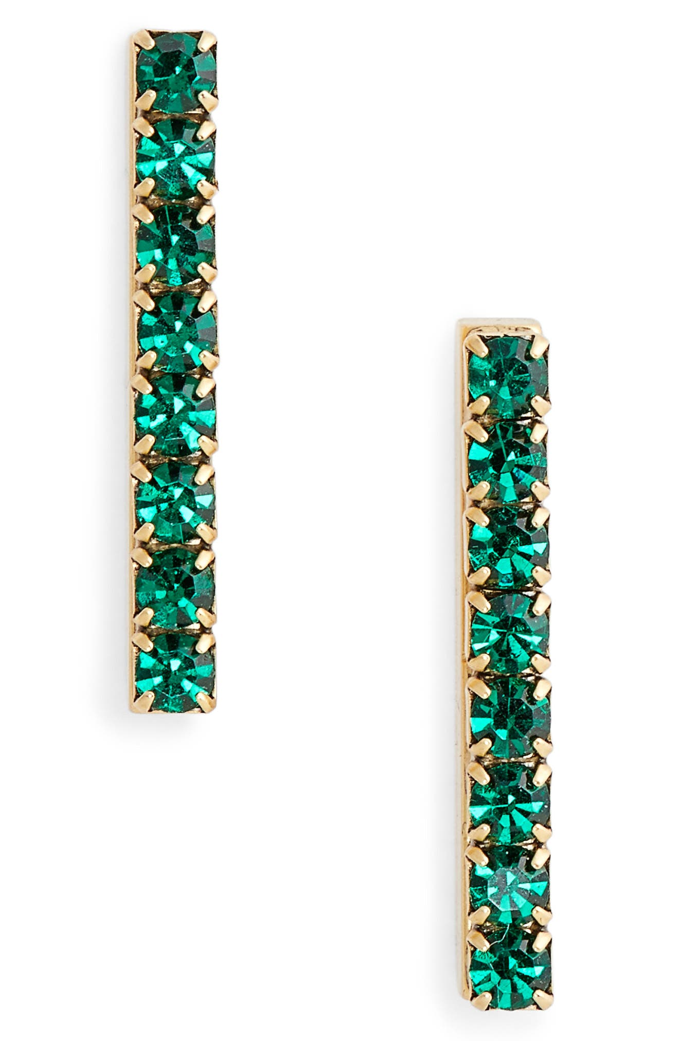 Paige Bar Stud Earrings,                         Main,                         color, Emerald