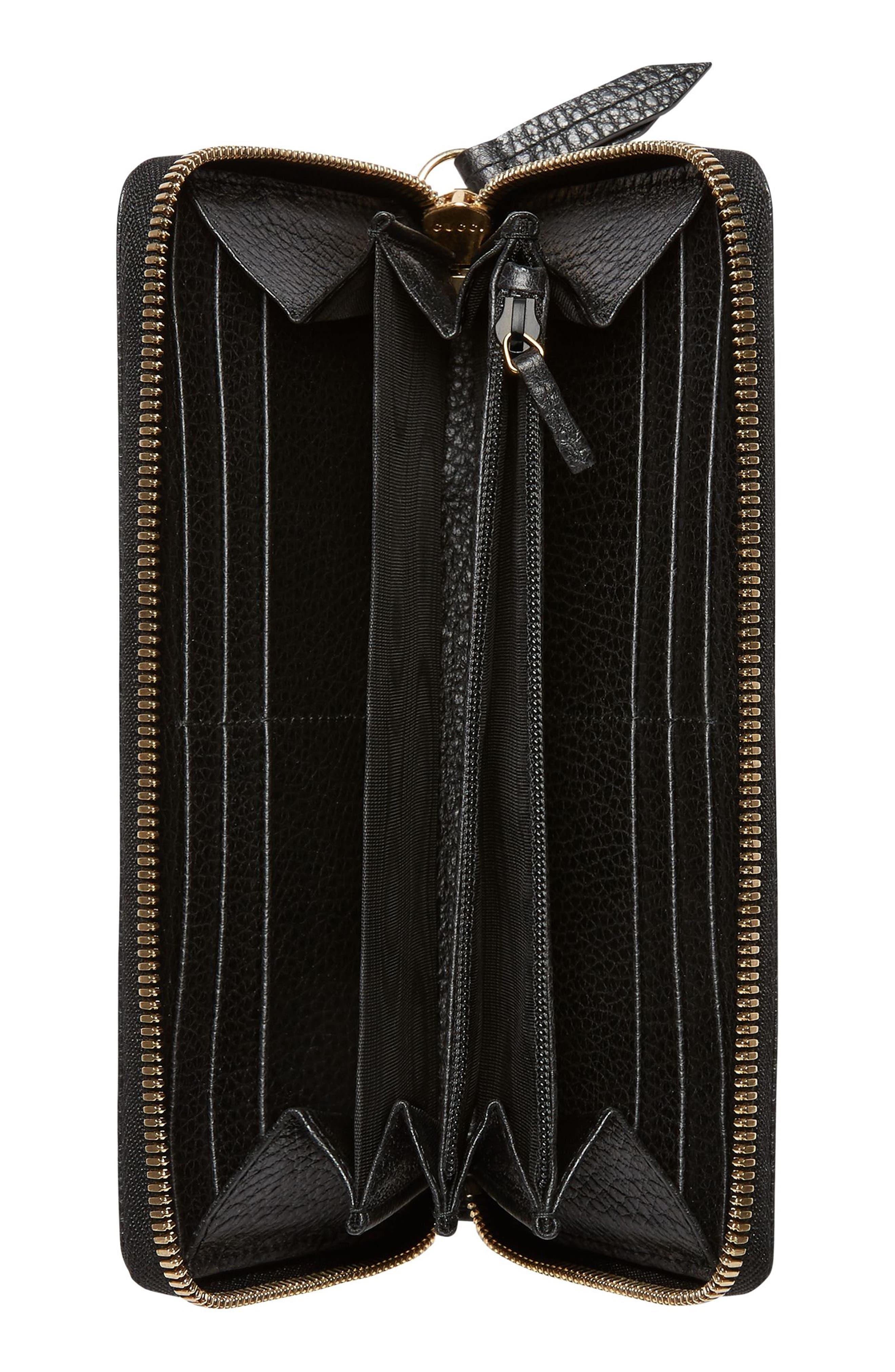 Petite Marmont Leather Zip Around Wallet,                             Alternate thumbnail 2, color,                             Nero/ Nero