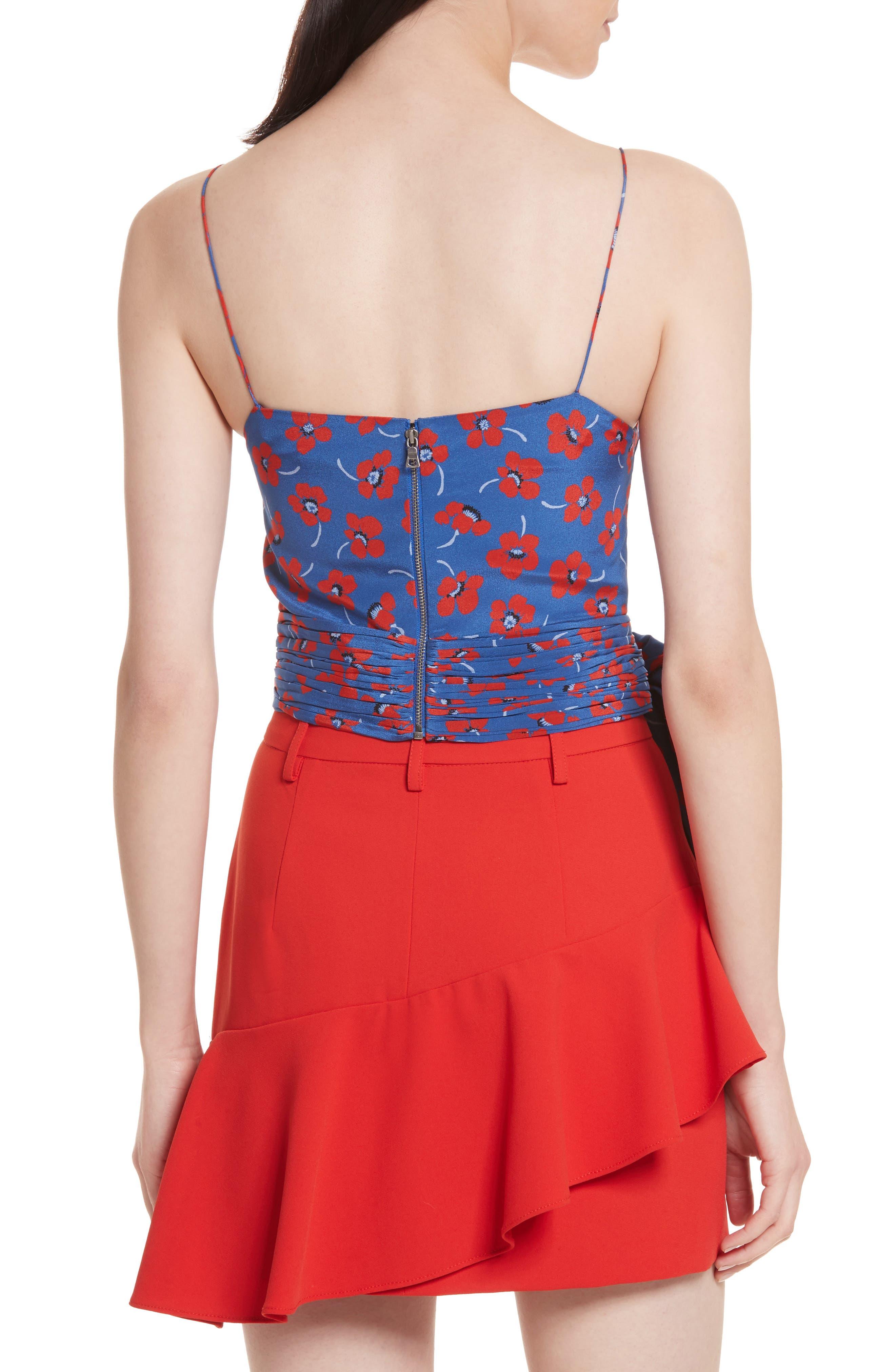 Diedra Tie Waist Silk Crop Top,                             Alternate thumbnail 2, color,                             Floating Floral/ Blue Quartz