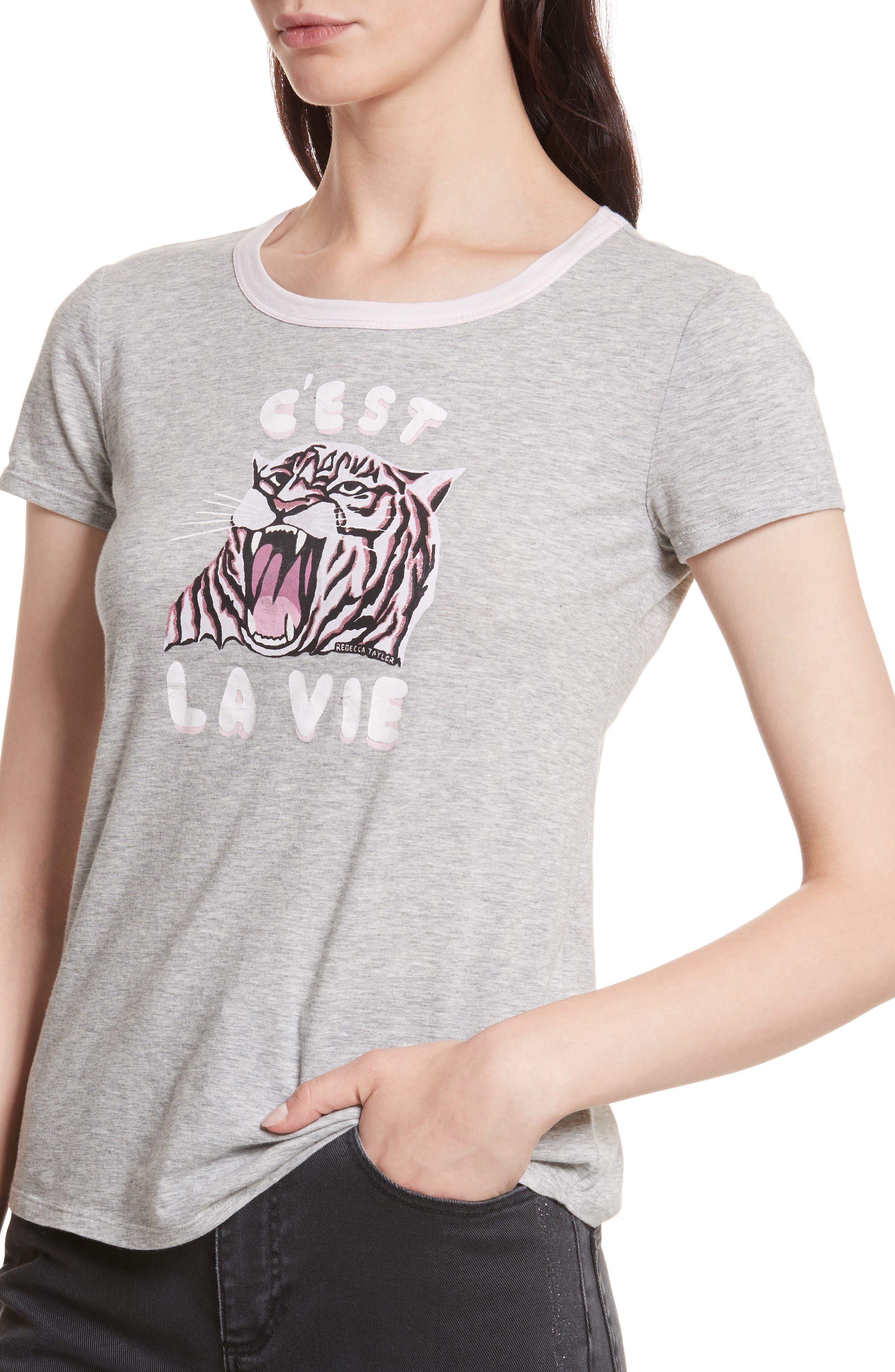 Tiger Logo Tee,                             Alternate thumbnail 4, color,                             Grey Heather