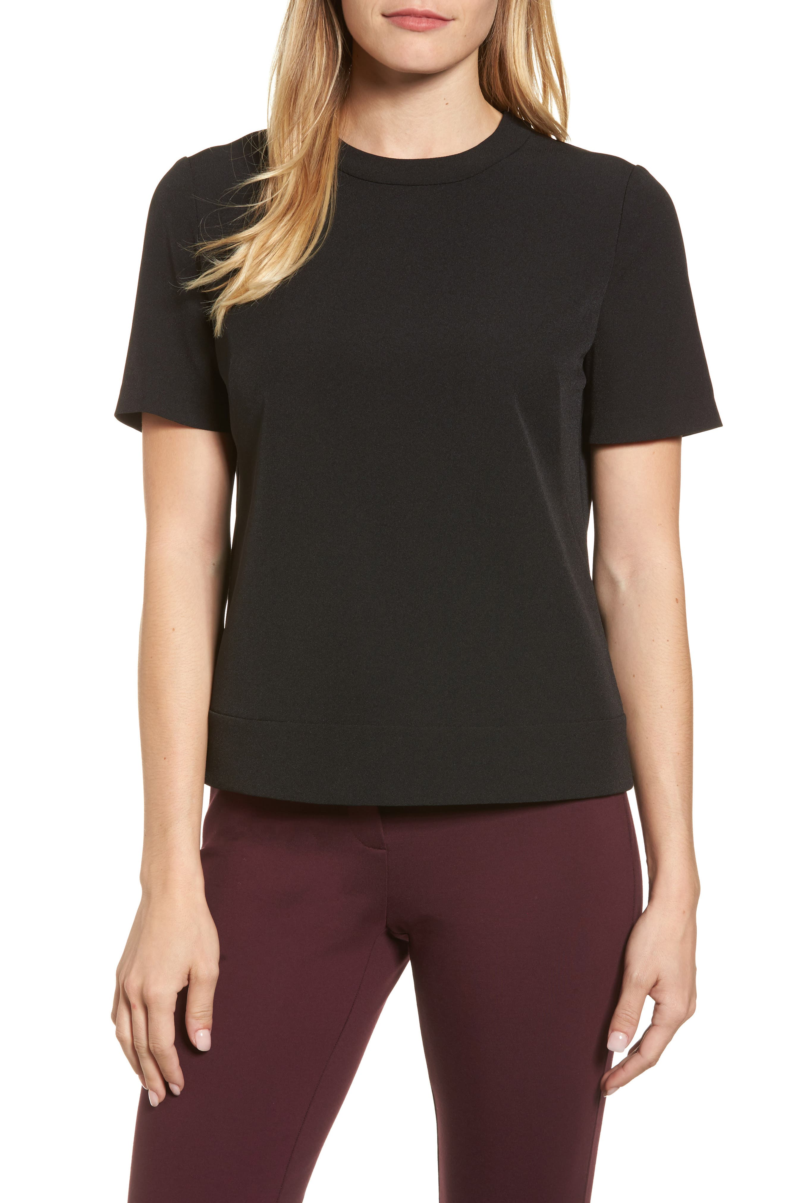 New York Crepe Button Back Top,                         Main,                         color, Black