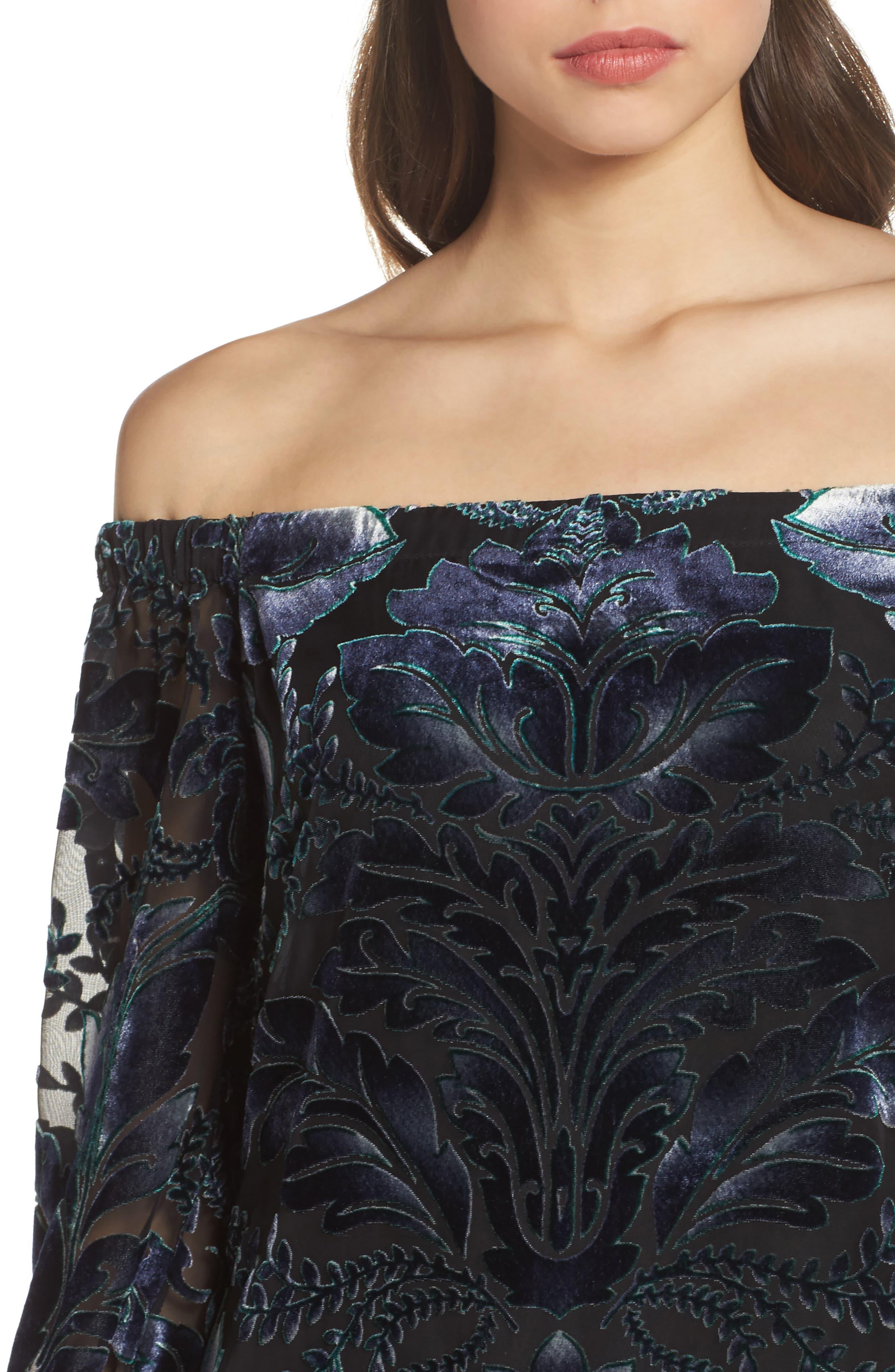 Off the Shoulder Velvet Dress,                             Alternate thumbnail 4, color,                             Black/ Navy/ Green