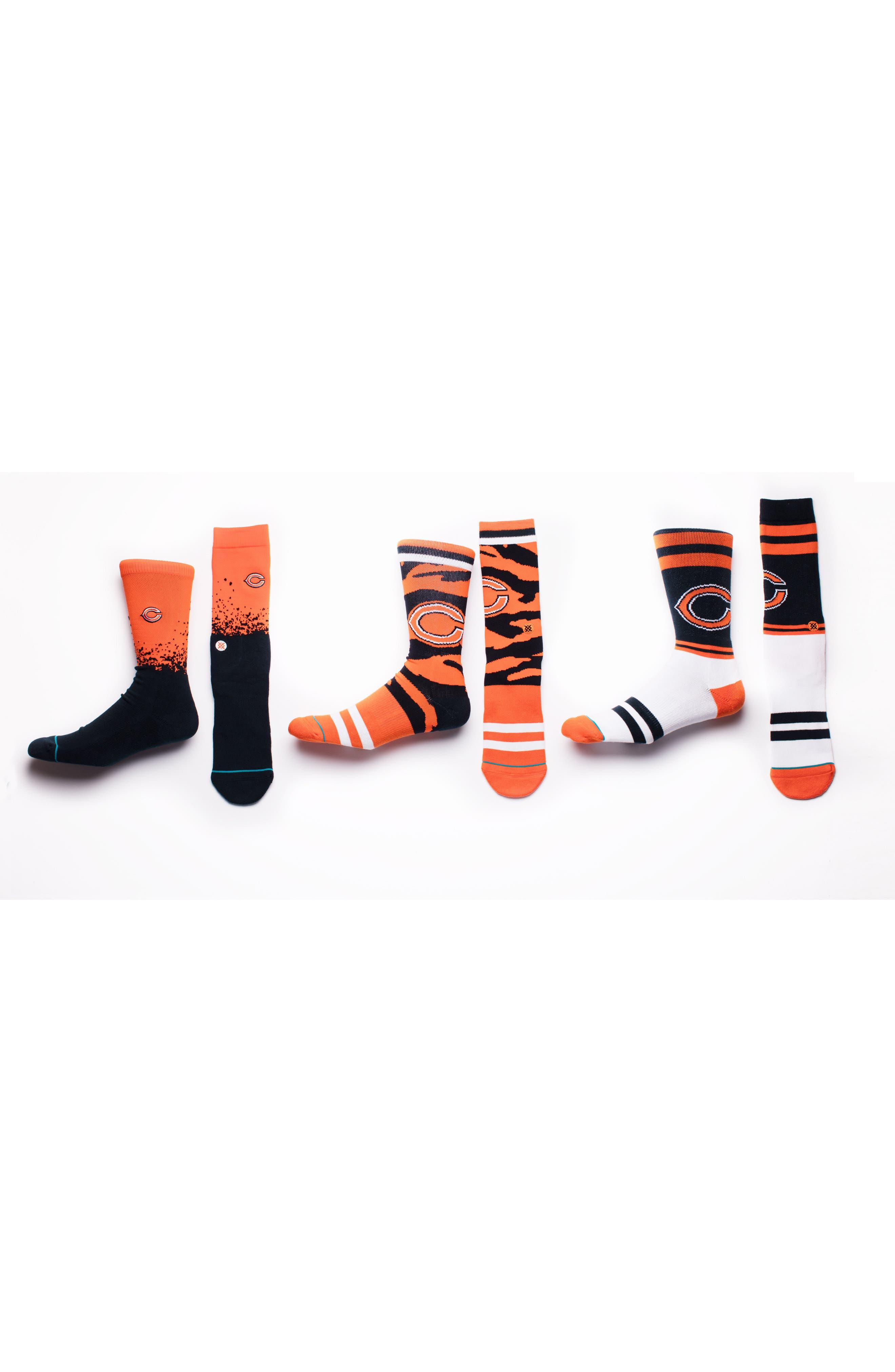 Chicago Bears - Tiger Stripe Socks,                             Alternate thumbnail 4, color,                             Orange