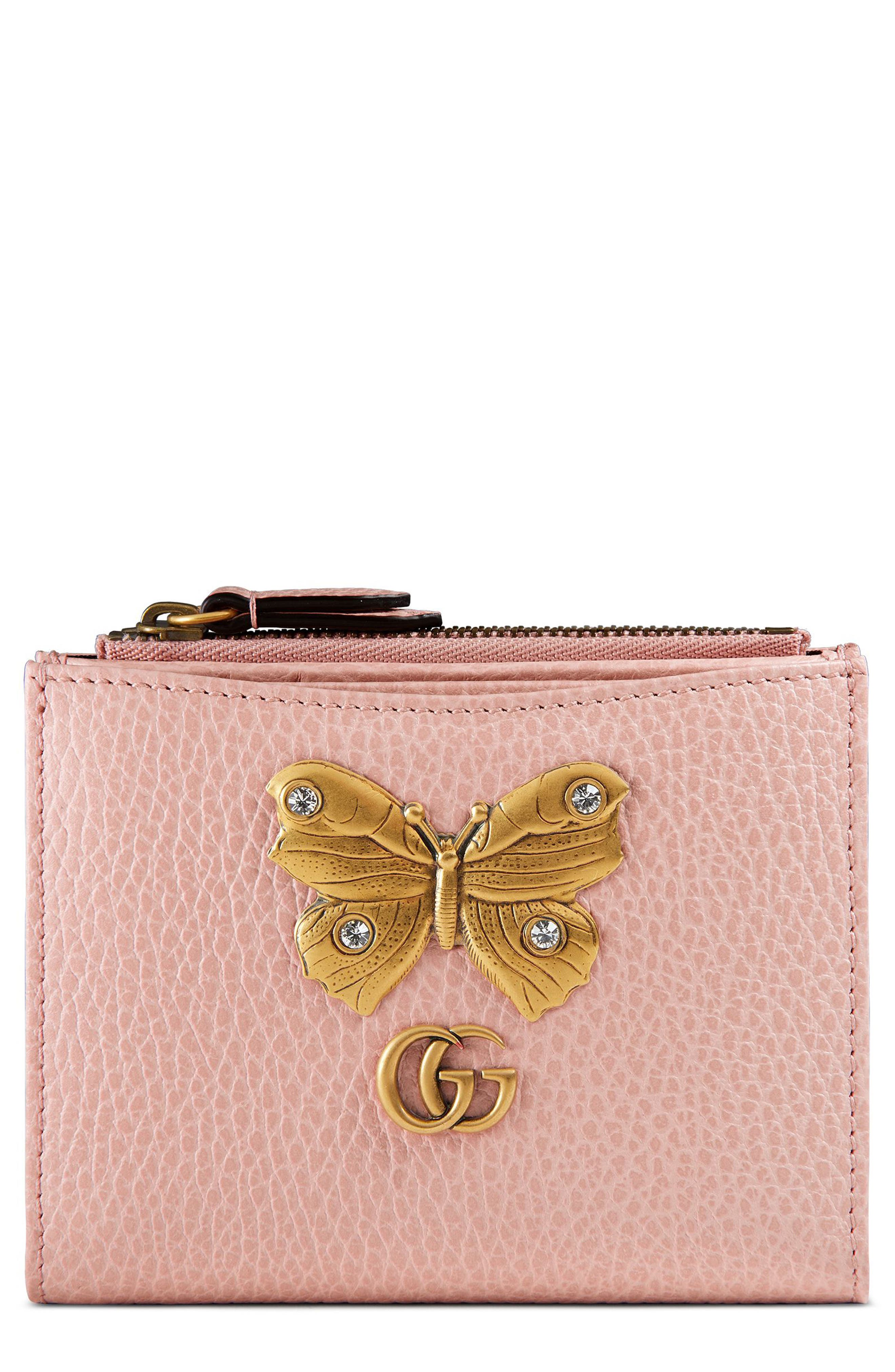 Farfalla Leather Wallet,                         Main,                         color, Perfect Pink/ Crystal