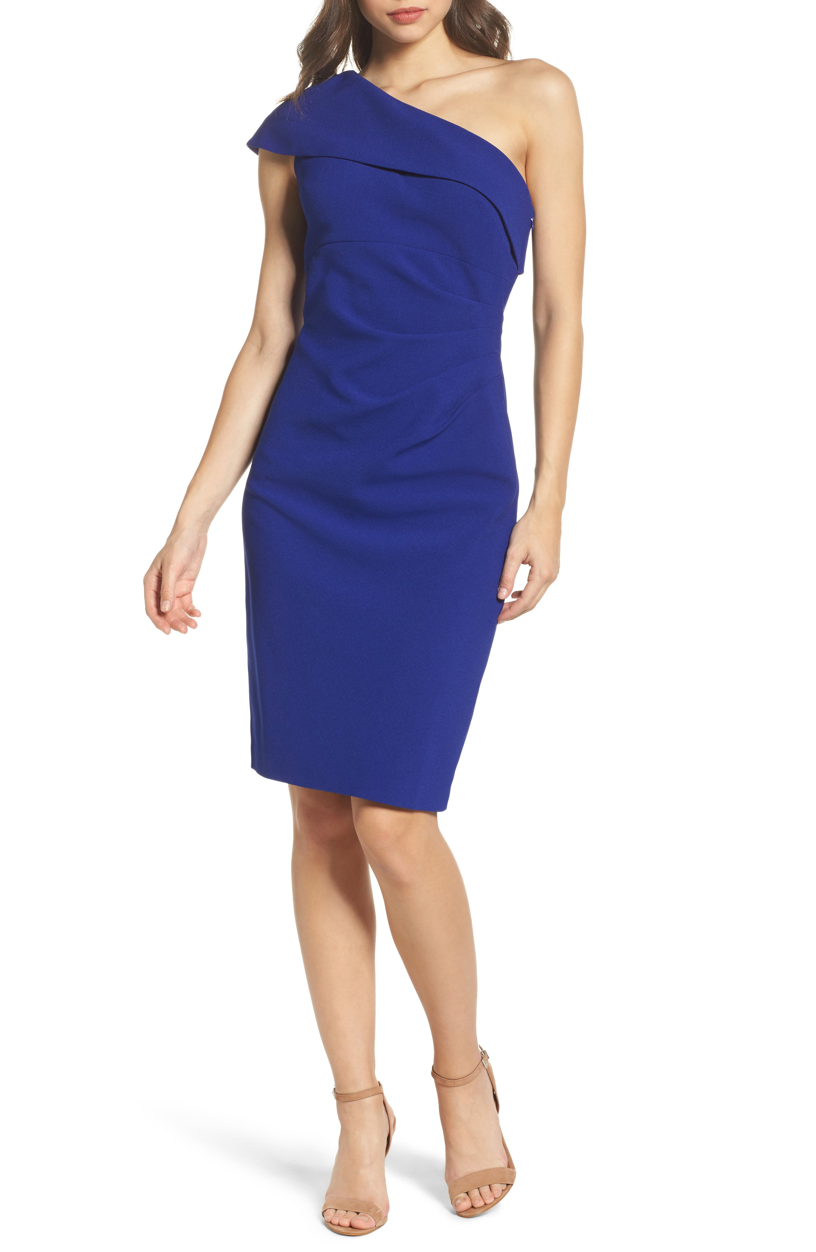 One-Shoulder Sheath Dress,                         Main,                         color, Royal