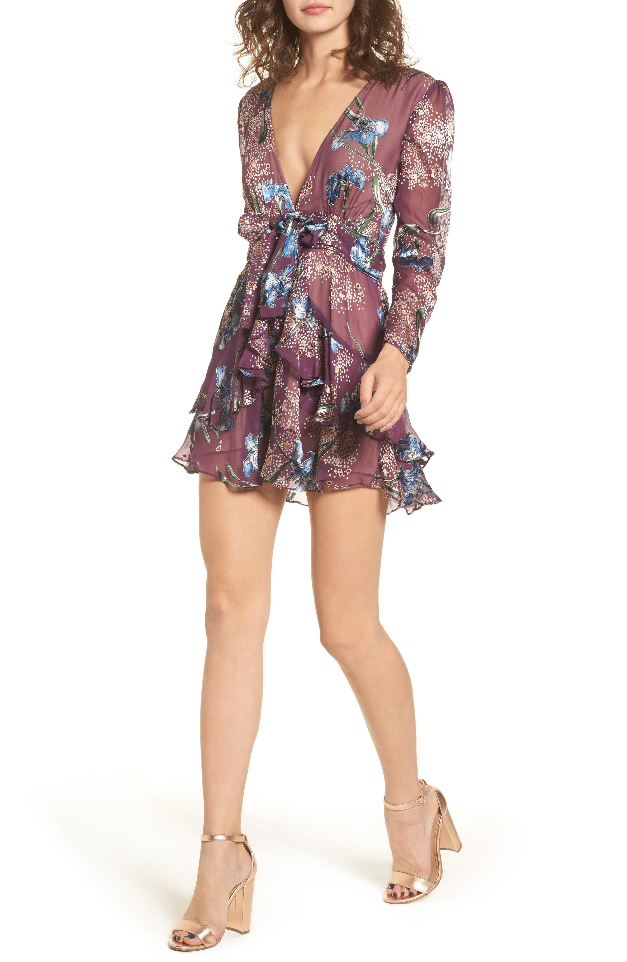 Cleo Minidress,                         Main,                         color, Violet Orchid