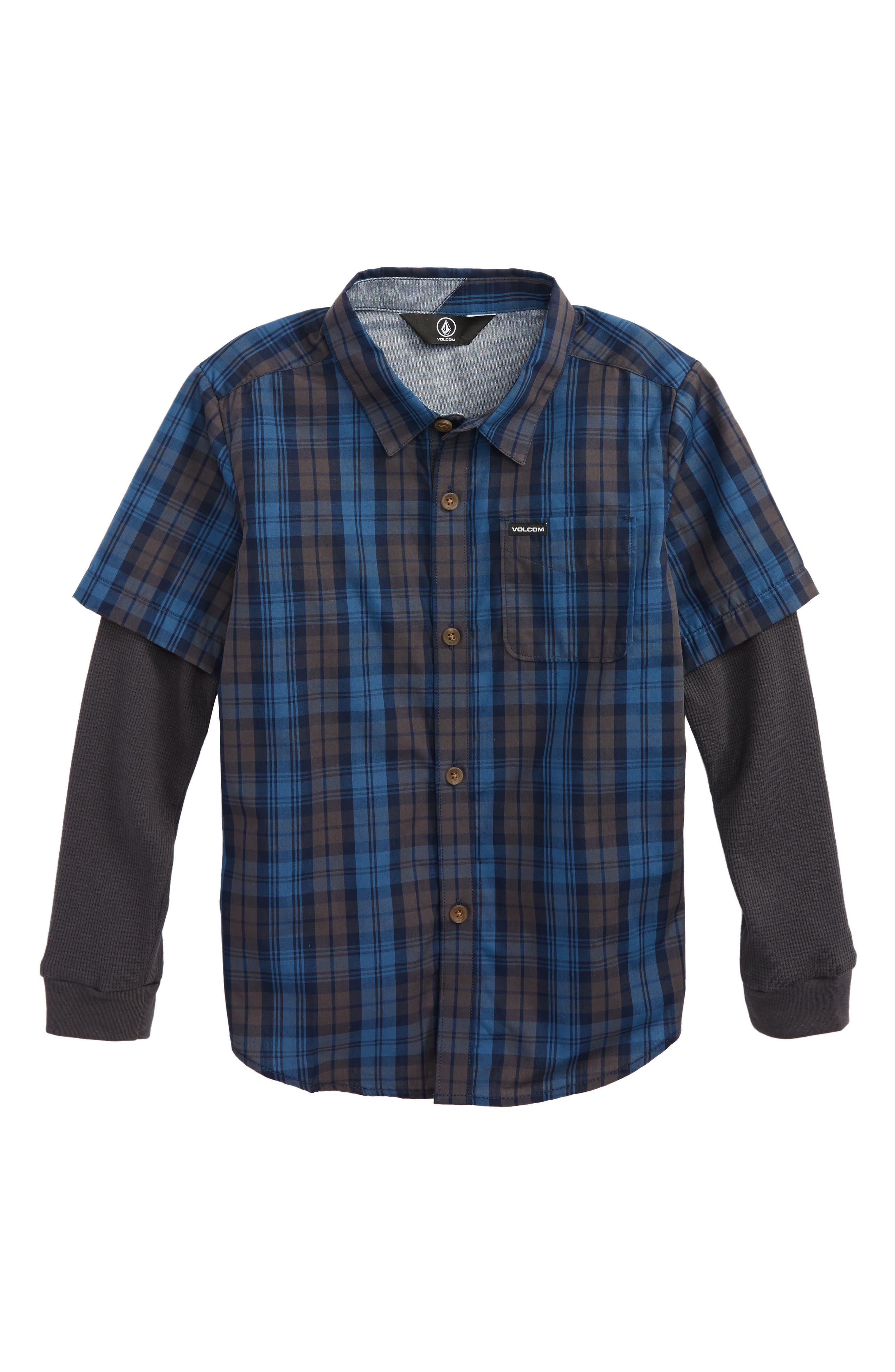 Ignition Layered Woven Shirt,                             Main thumbnail 1, color,                             Indigo