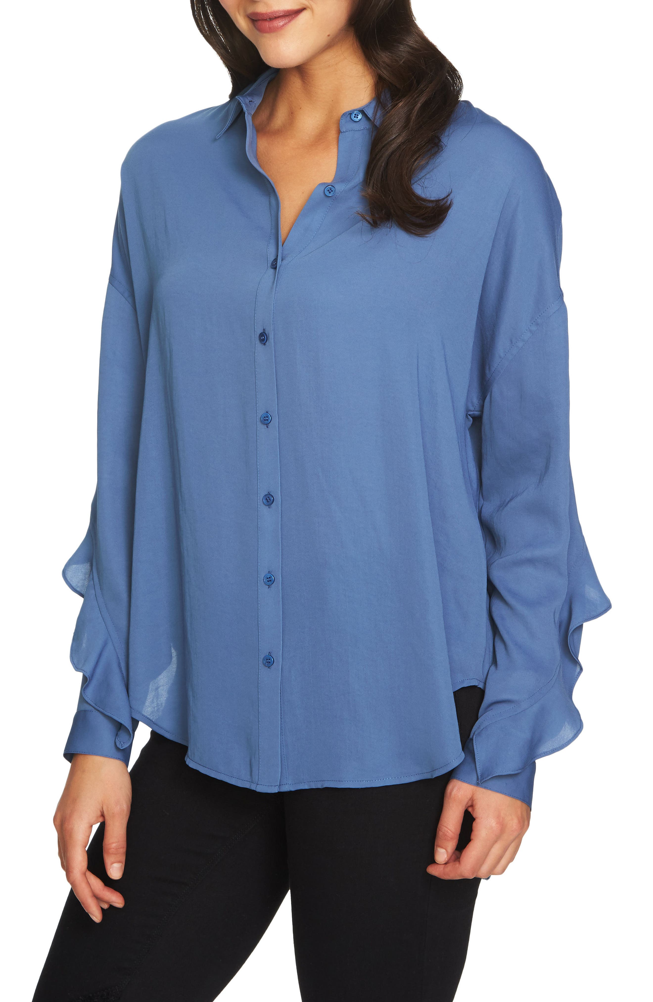 Alternate Image 1 Selected - 1.STATE Ruffle Slit Back Blouse