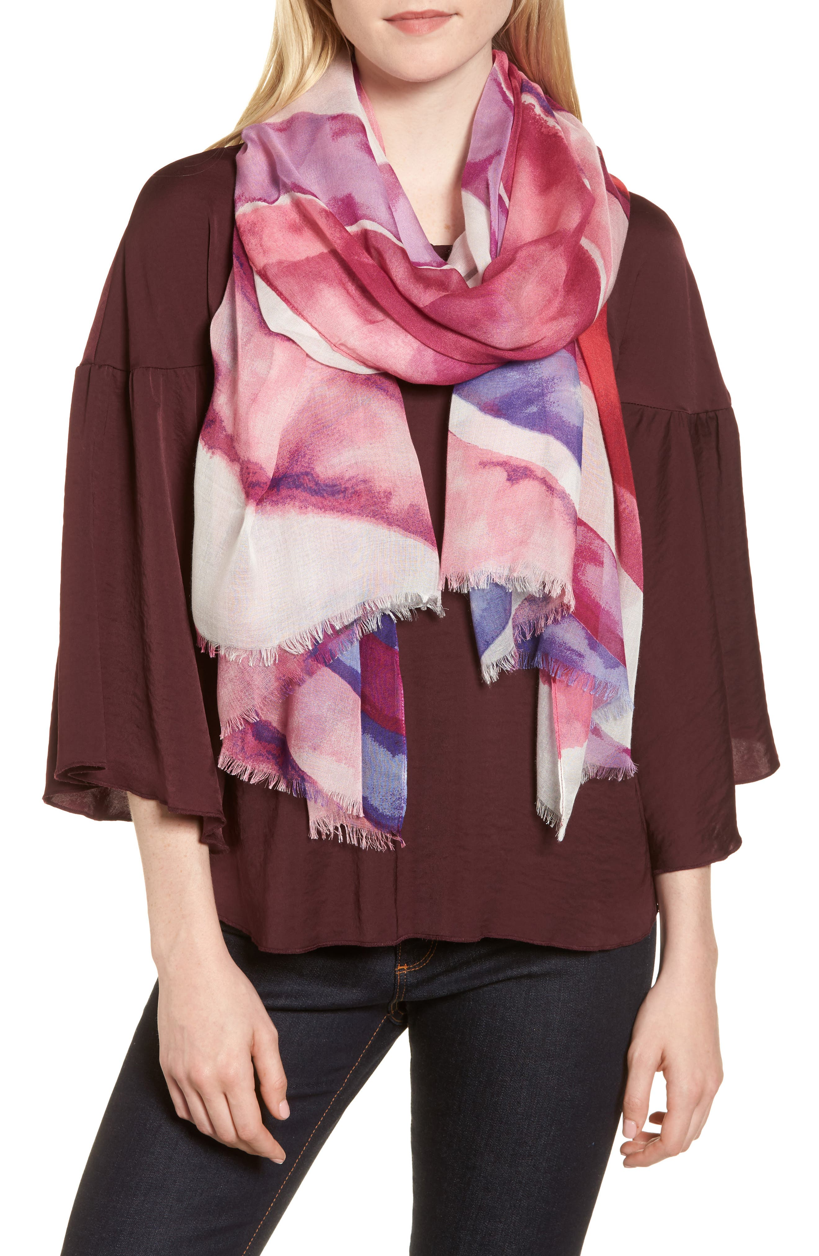 Print Modal & Silk Scarf,                         Main,                         color, Pink Spectrum Stripes Print