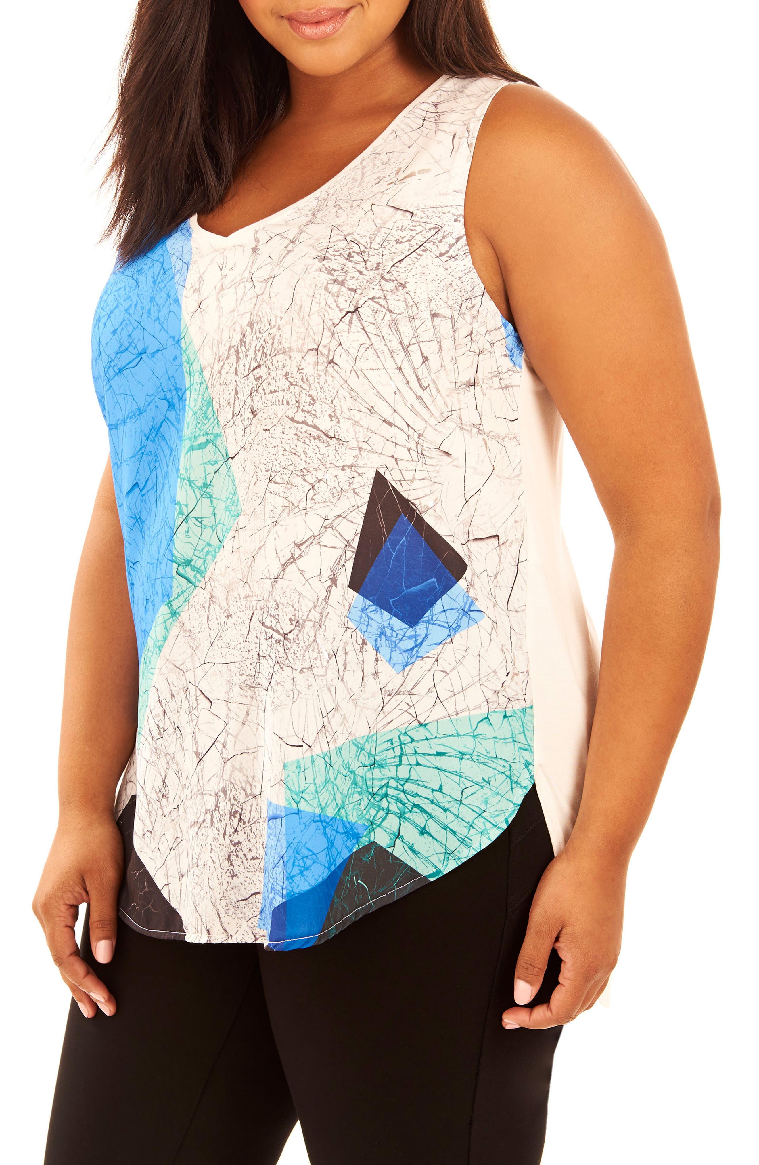 Sublimation Print Tank,                             Main thumbnail 1, color,                             Shattered Geo/ White