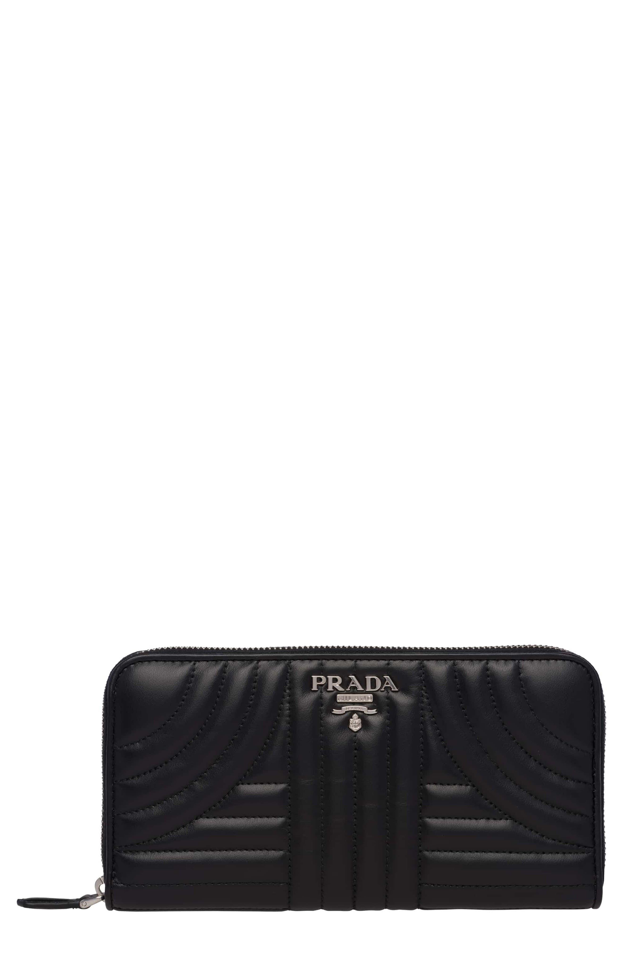 Prada Quilted Calfskin Leather Zip-Around Wallet
