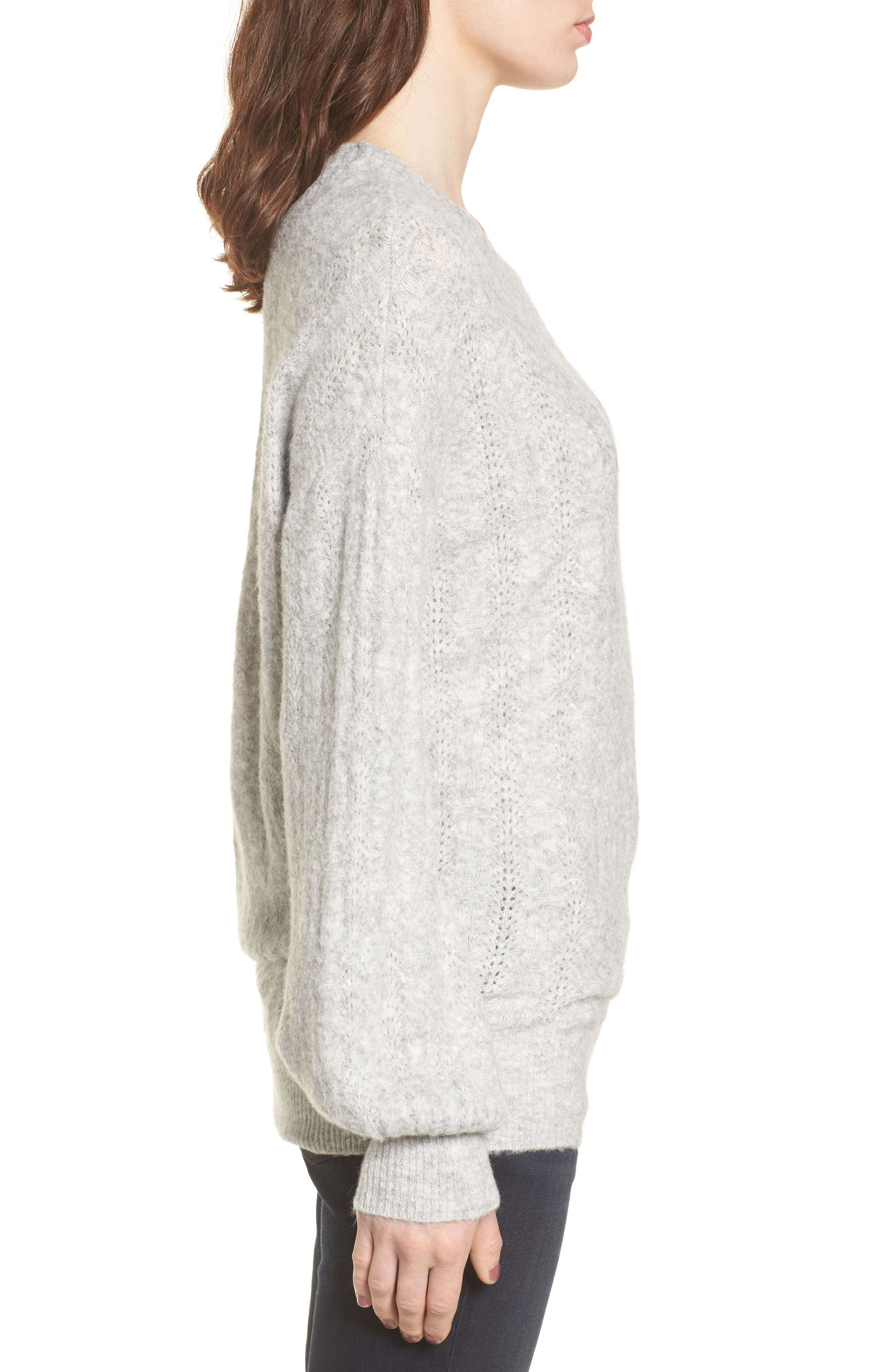 Open Back Sweater,                             Alternate thumbnail 3, color,                             Grey Heather
