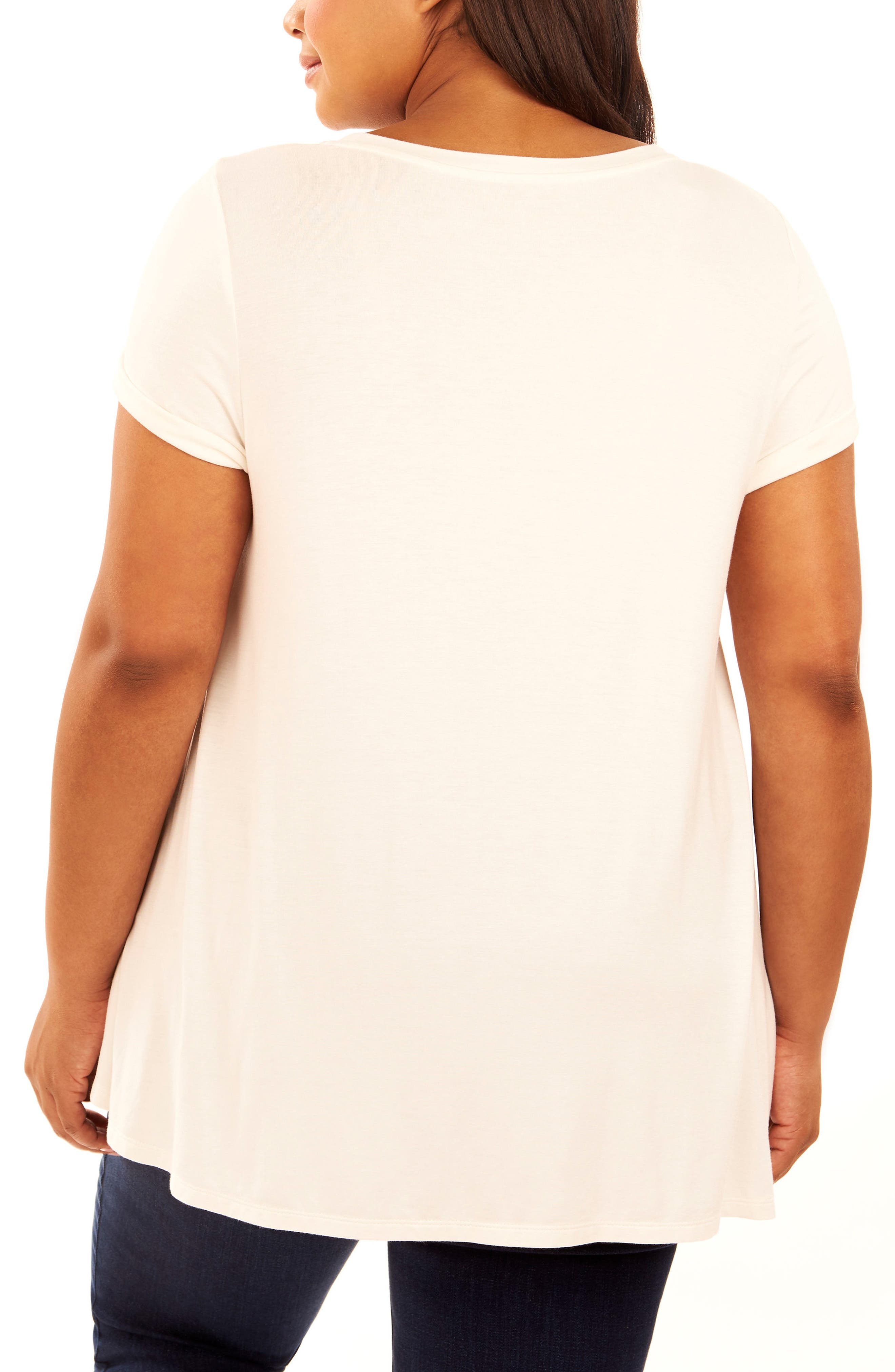 Graphic High/Low Tee,                             Alternate thumbnail 2, color,                             White