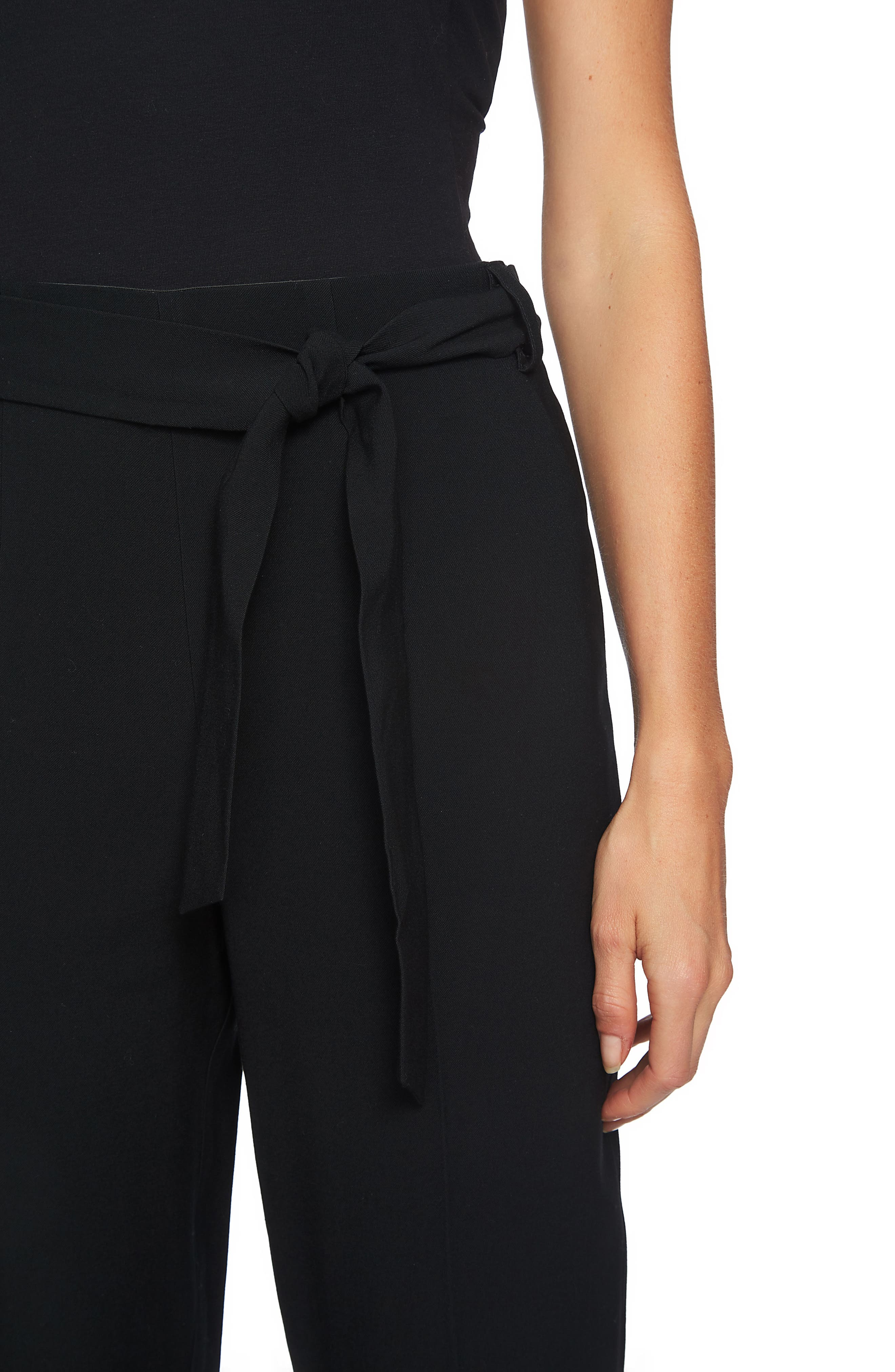 Tie Waist Tapered Trousers,                             Alternate thumbnail 3, color,                             Rich Black